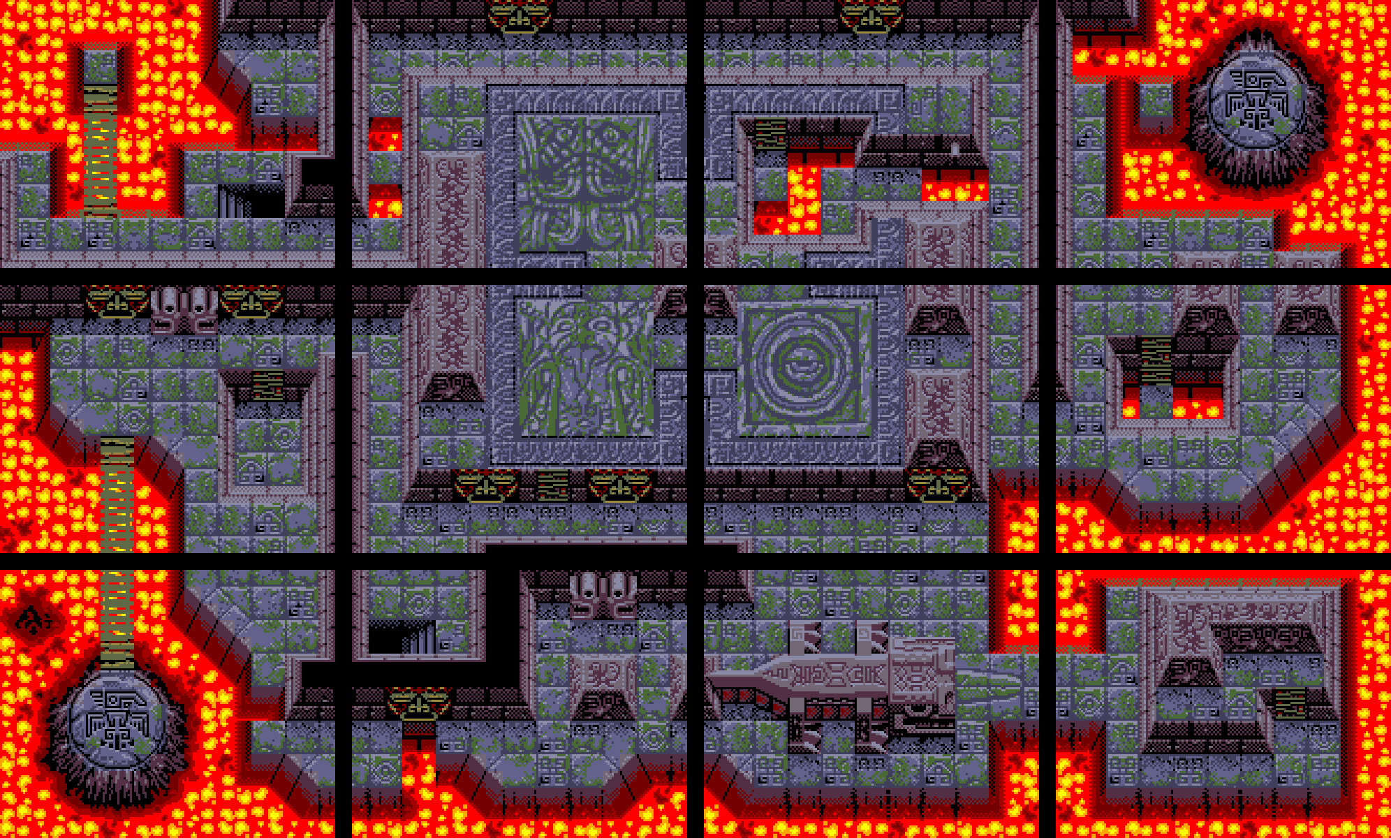 Lava level. 4 Gameboy screens across by 3 down.