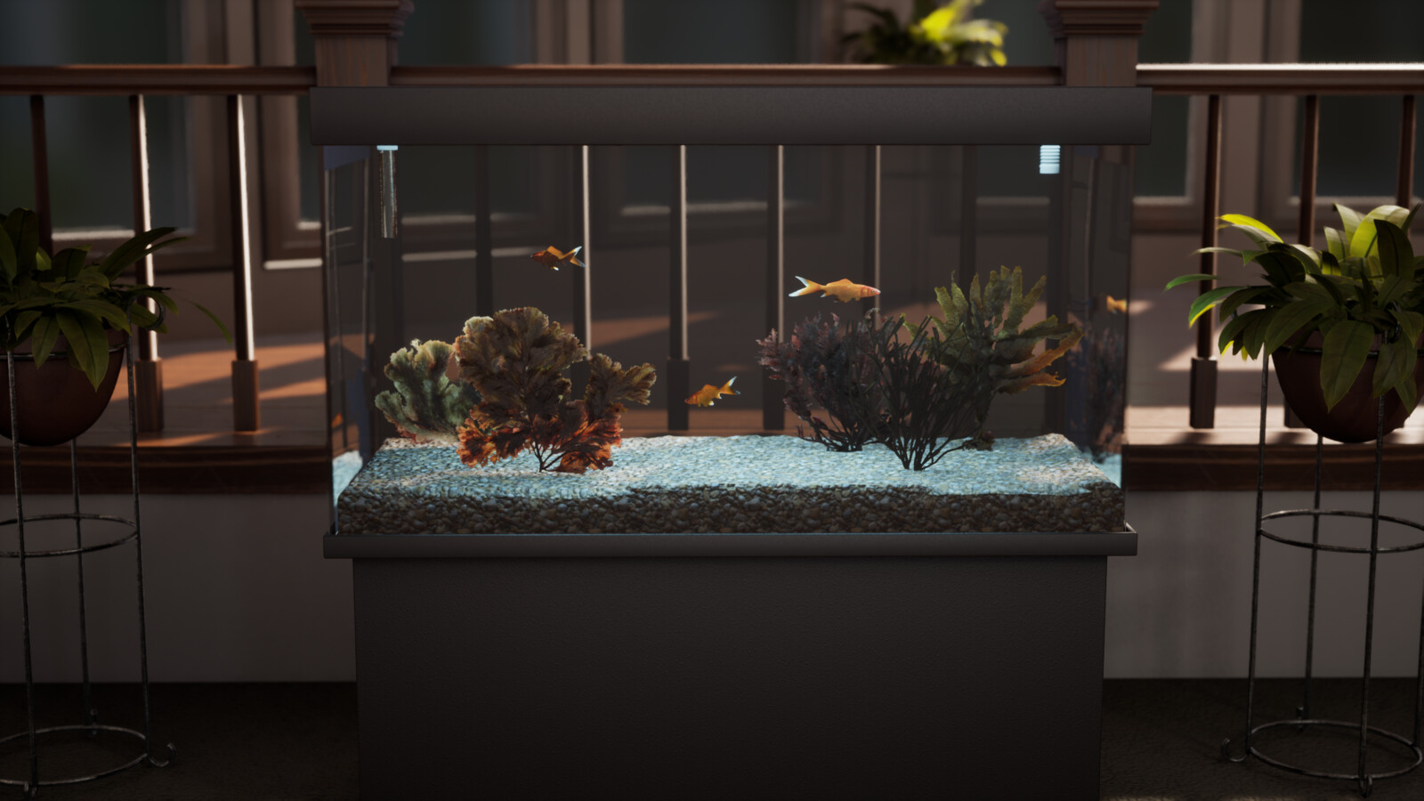 Render of the fish tank up close.  A short 4-5 second video with animations running will open the scene.