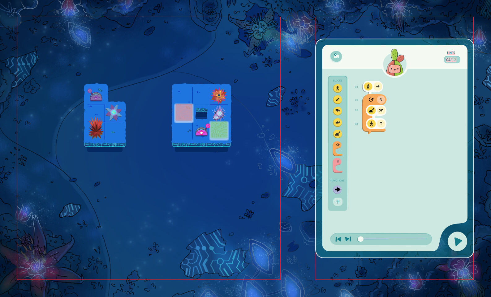 Puzzle Background with Tiles and Object Assets (Right - UI credit to game designer)