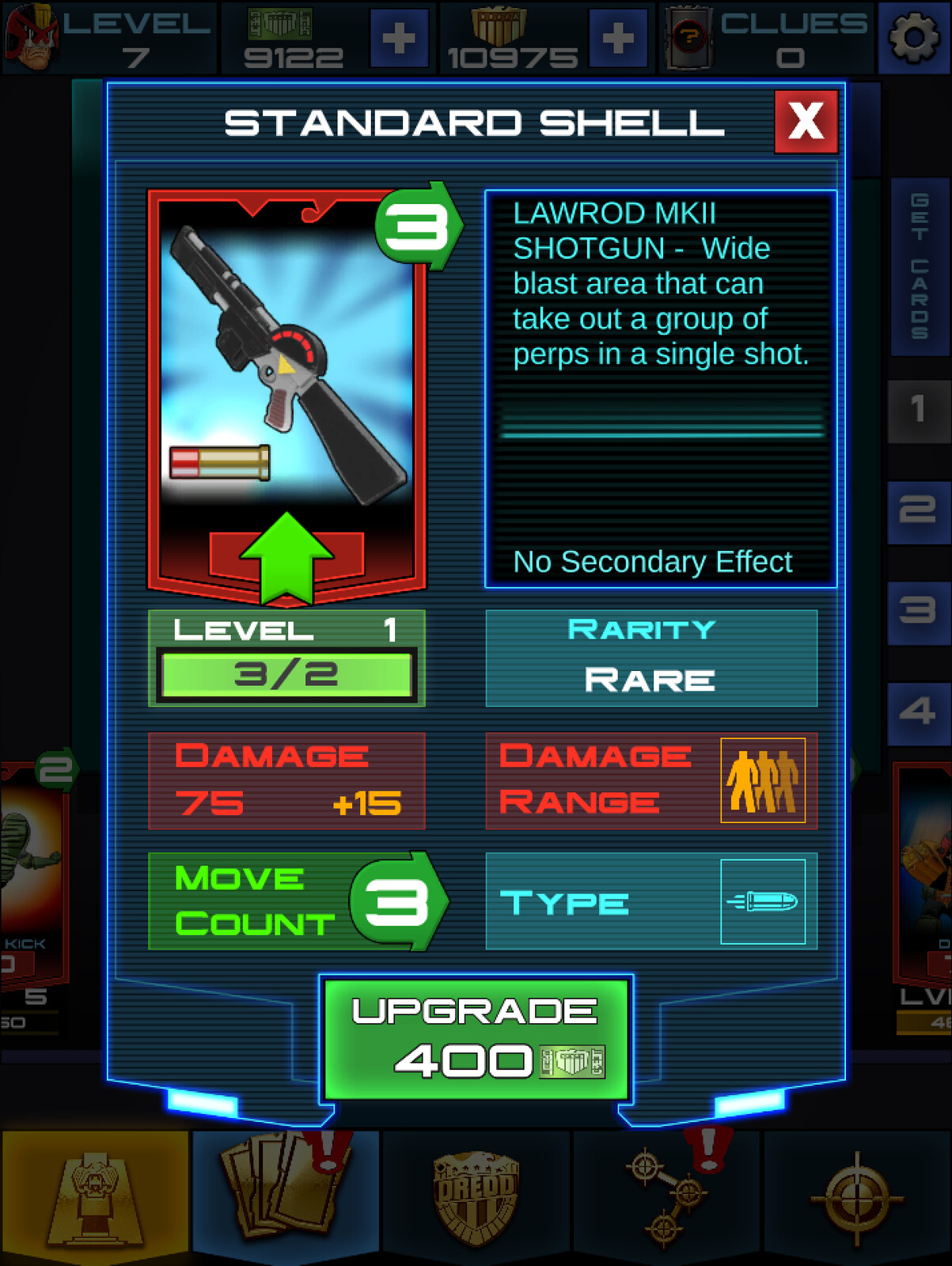 Card upgrade screen