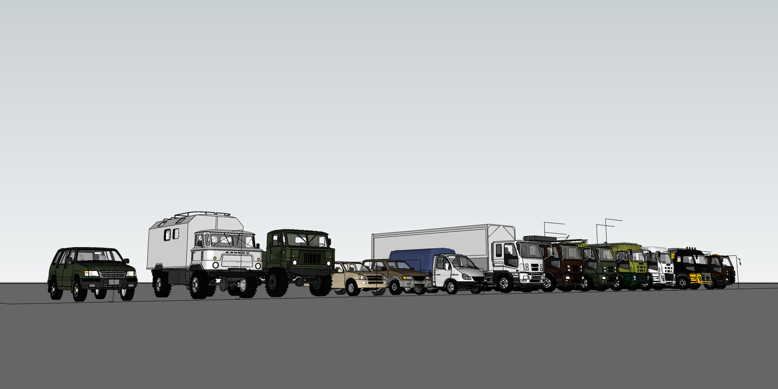 SketchUp 2020 Korean vehicles-Scene 1 SU