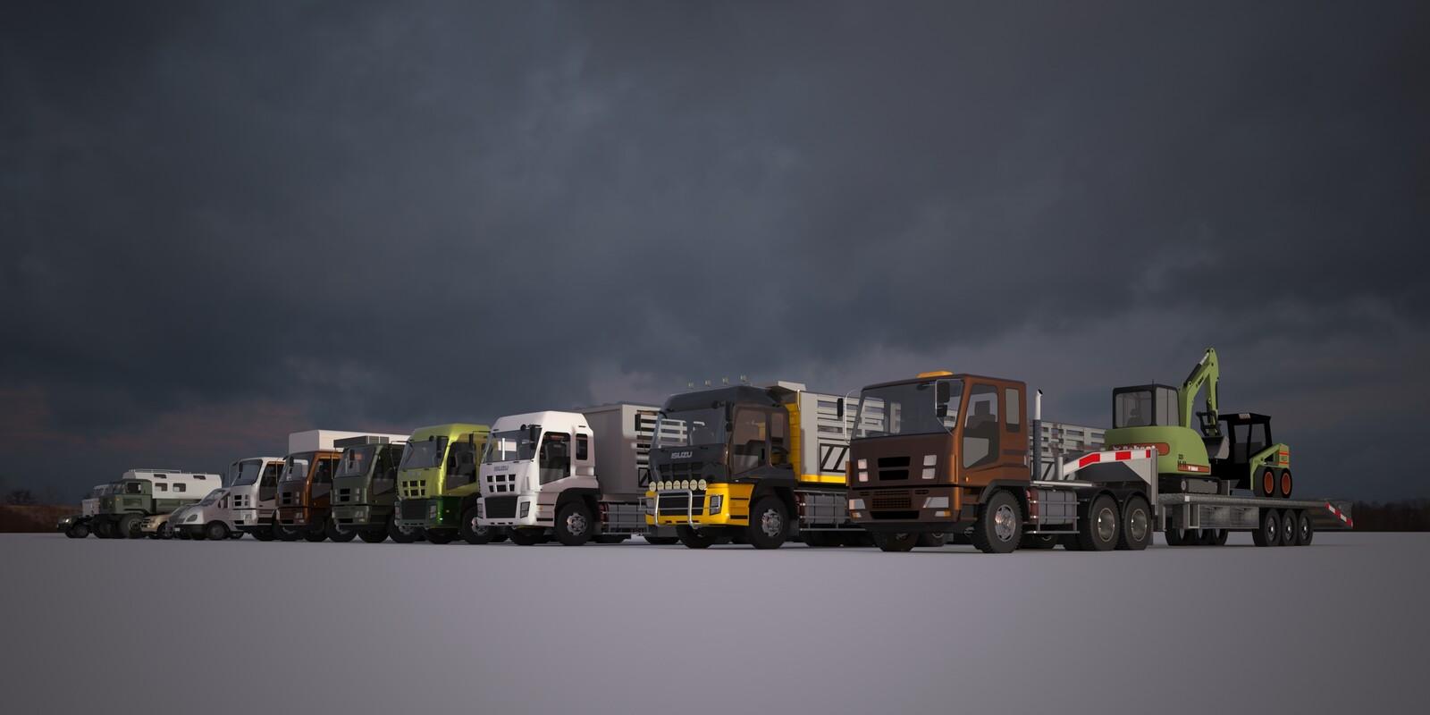 SketchUp 2020 + Thea Render V2 Korean vehicles-Scene 2 2160 x 1080 Presto Bucket 512 s/p
