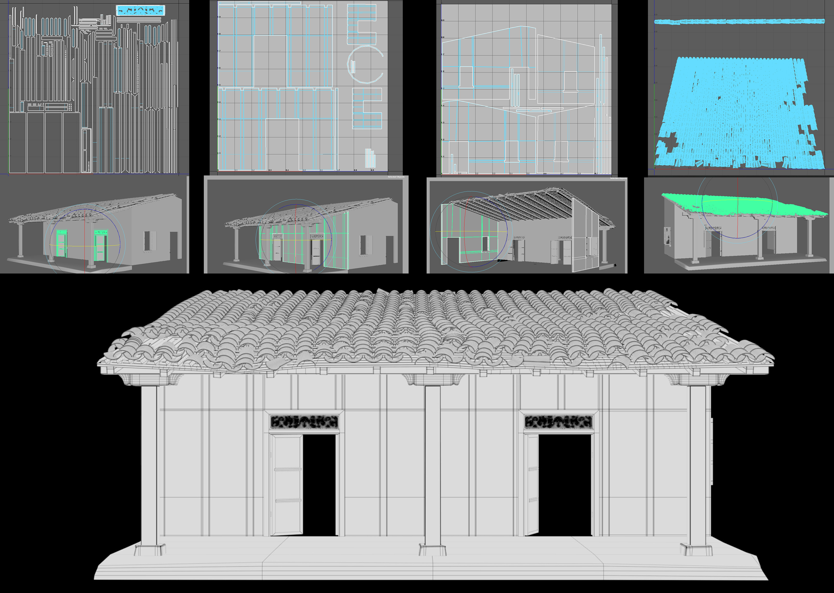 Front Porch Structure - Wireframe and UVs. The UVs for the terracotta tiles were done camera based, since I only needed them from a certain angle.
