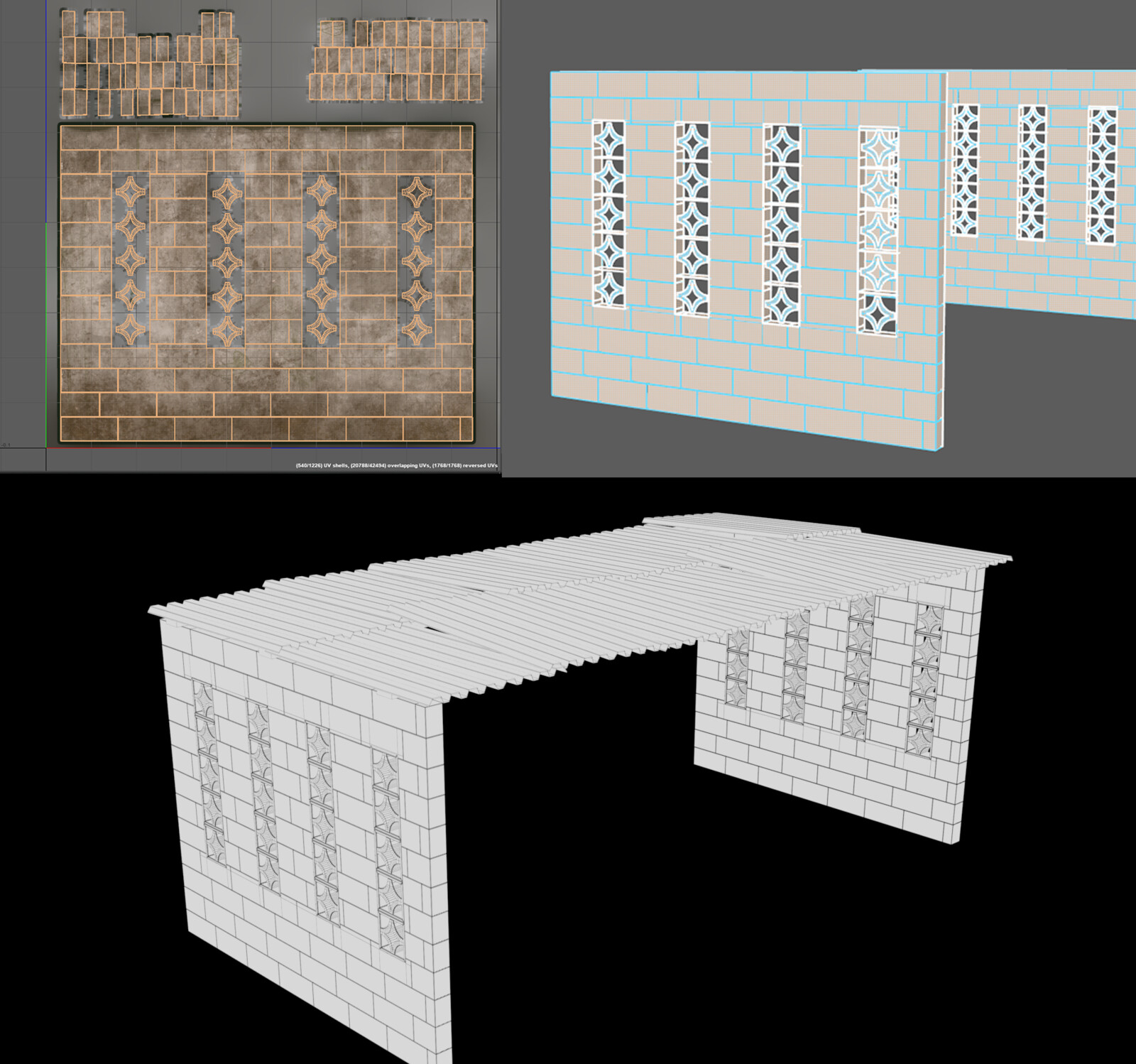 Workstation Structure - Wireframe and UVs