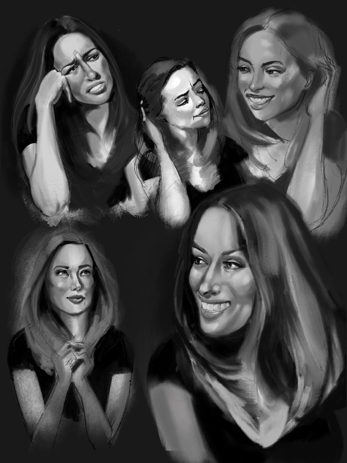 A number of portrait 'sketches'