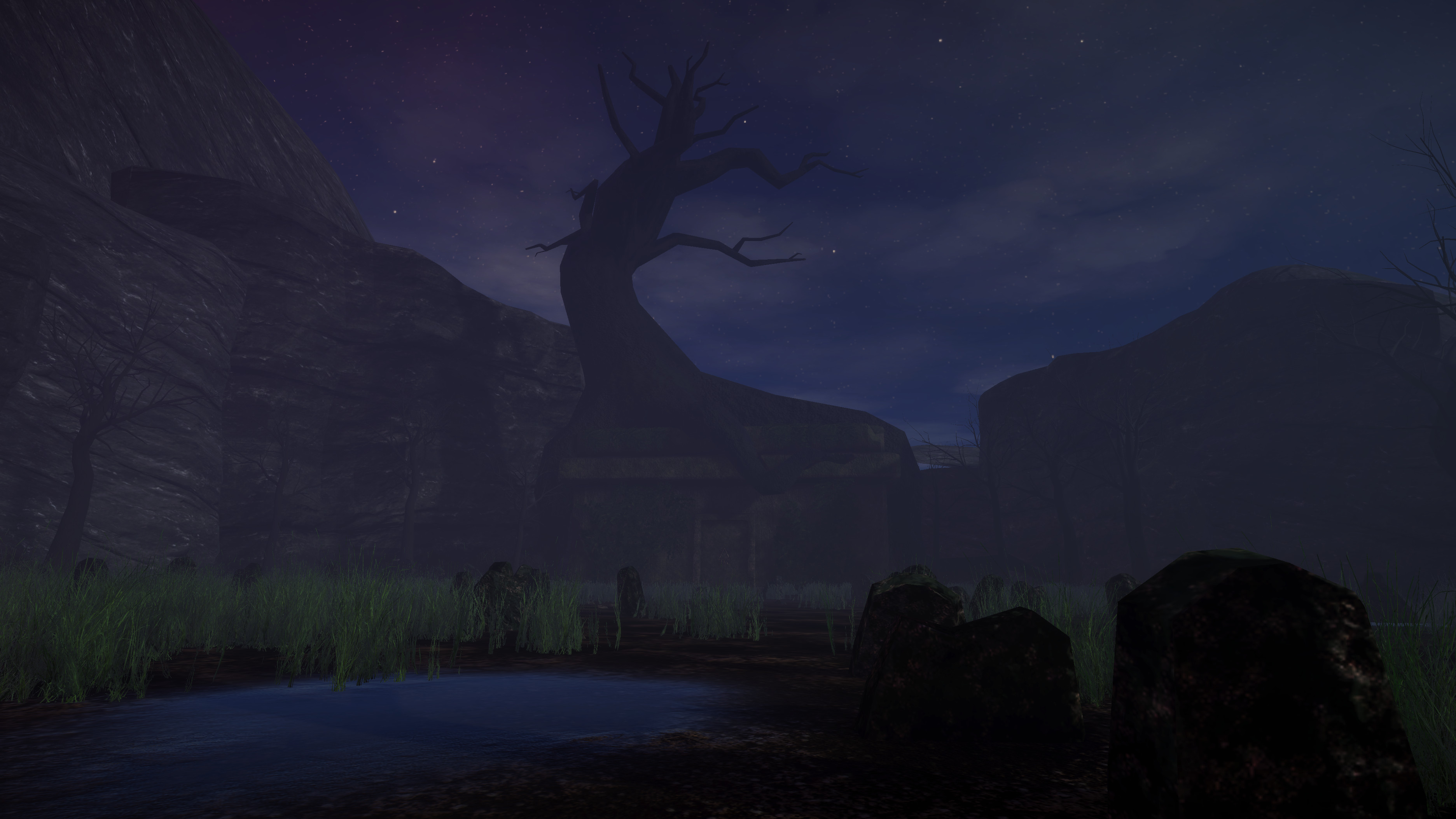The Graveyard - I worked with another 3D Artist for this scene. I made the building and trees, as well as did the terrain work.