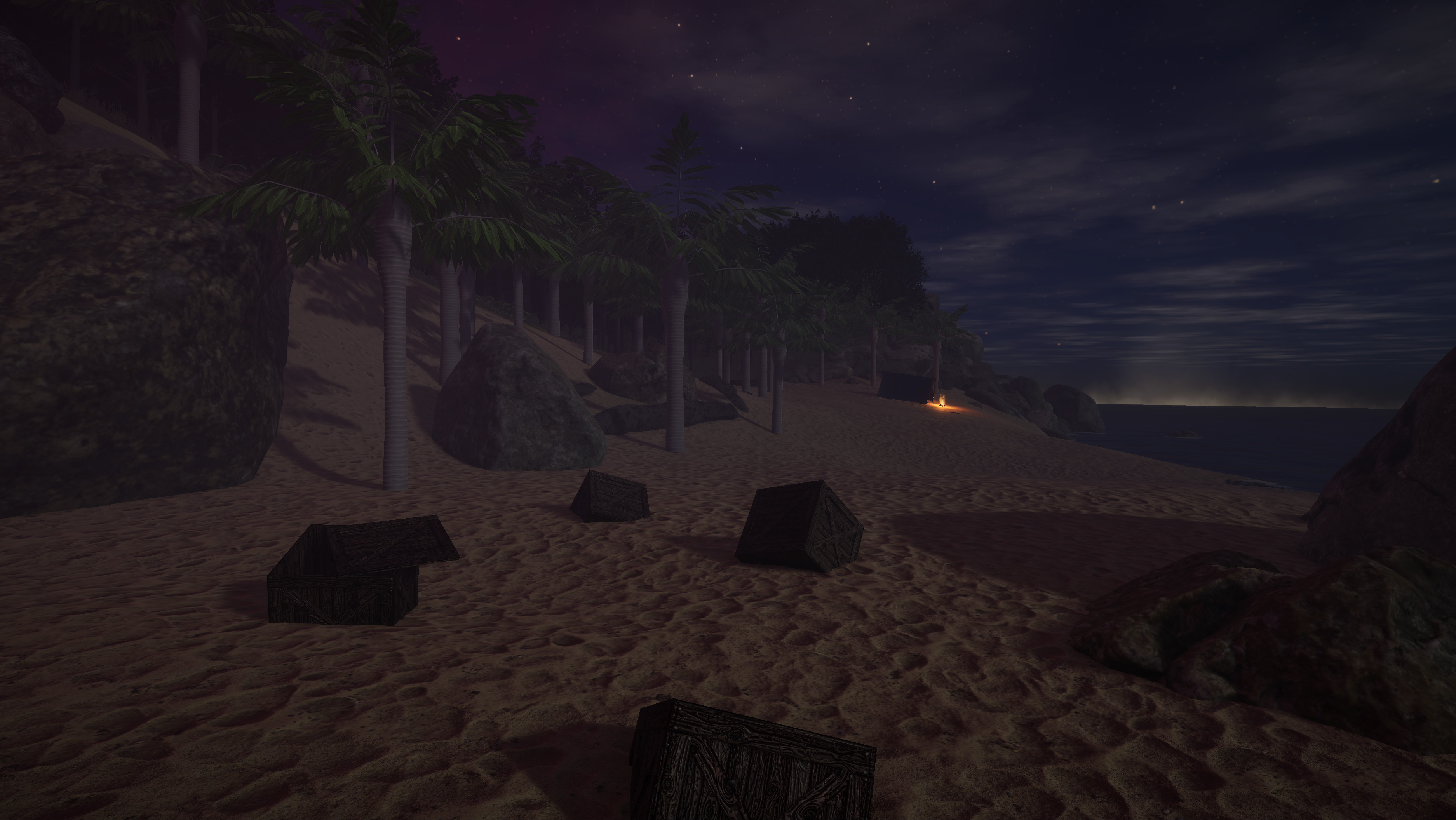 Sand material created in Designer. I also created the palm trees and crates.