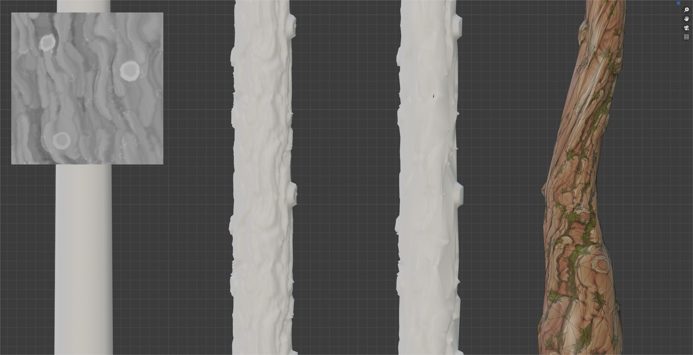 To make the geo of the trees match the texture more i used  displacement on a cylinder with correct UVs and decimated the geo afterwords in blender. It did require some cleanup but i was surprised how well it worked in this case.