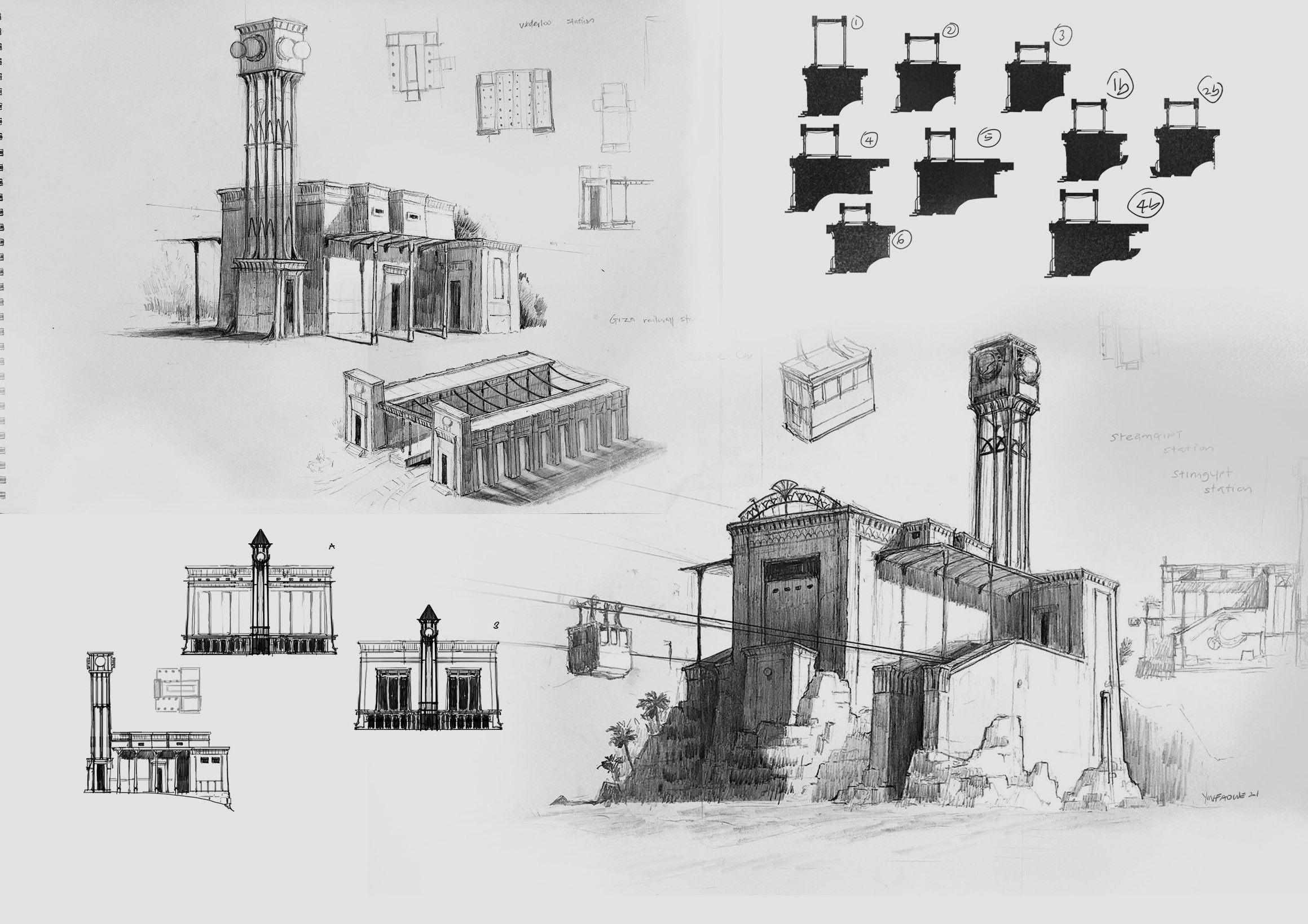 early pencil sketches and exploration