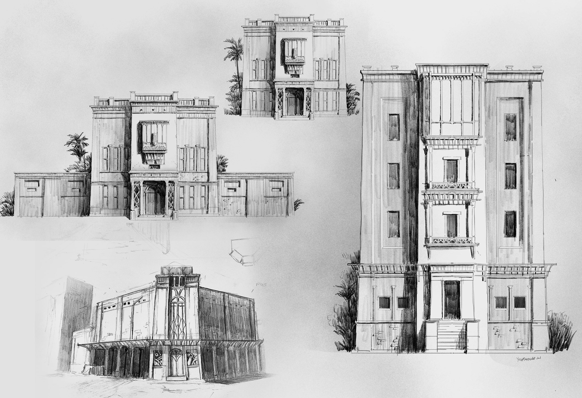 early Sketchbook exploration for city buildings