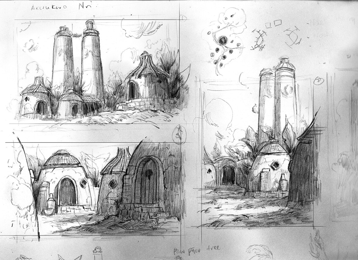 Initial comp sketches... Maybe I'll paint the rest