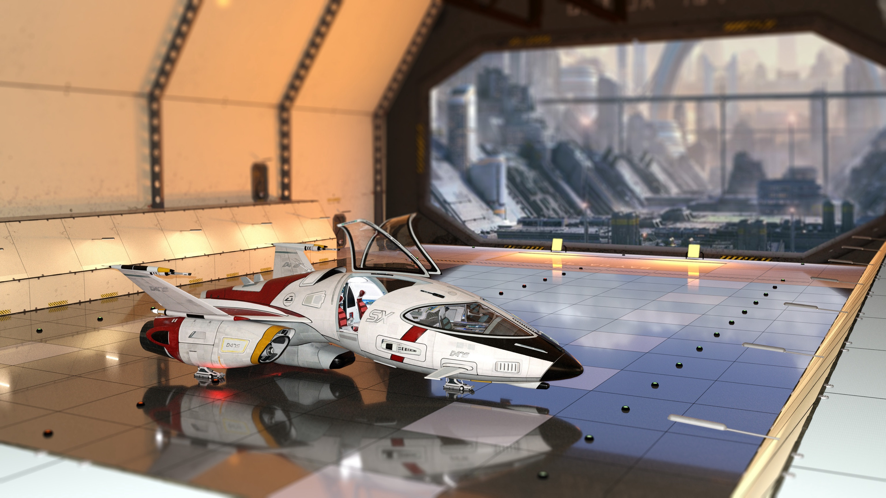 Hangar scene with the Shuttlestar, by Kibaretto one of my all time favorite 3D content creators, and whose affordable pricing I can say got me into making 3d art.