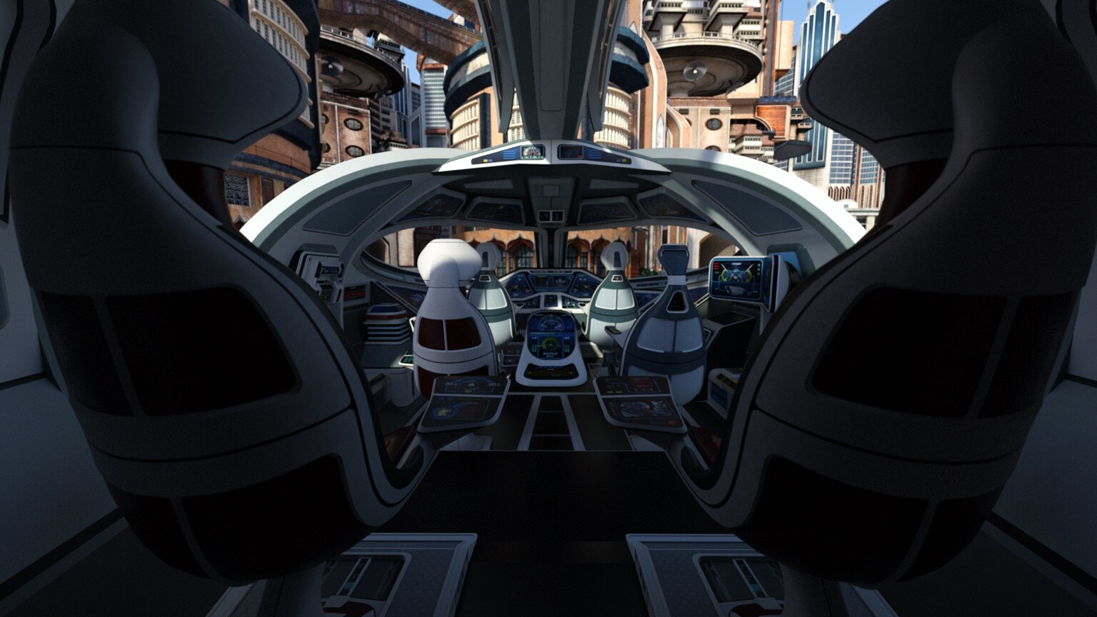 from the interior of the Shuttlestar looking out.