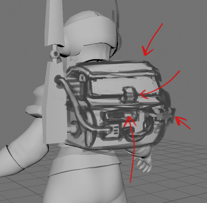 draw over of the prototype backpack to give it more detail