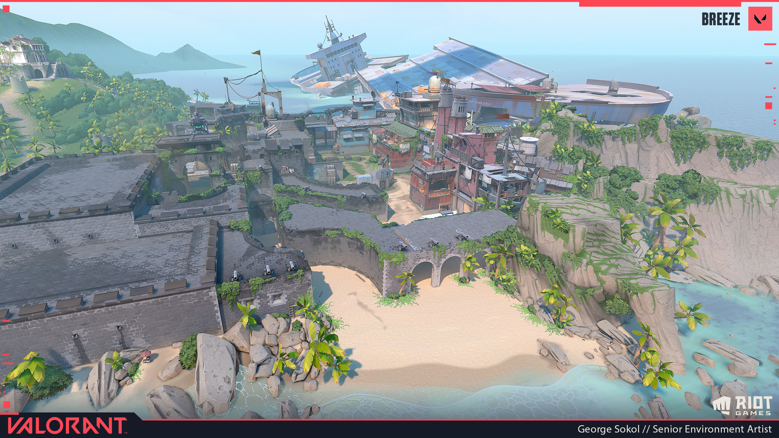 Overview of Breeze.  I worked primarily on the large ship on Defender Spawn/A-Site and the Interior Mid areas.