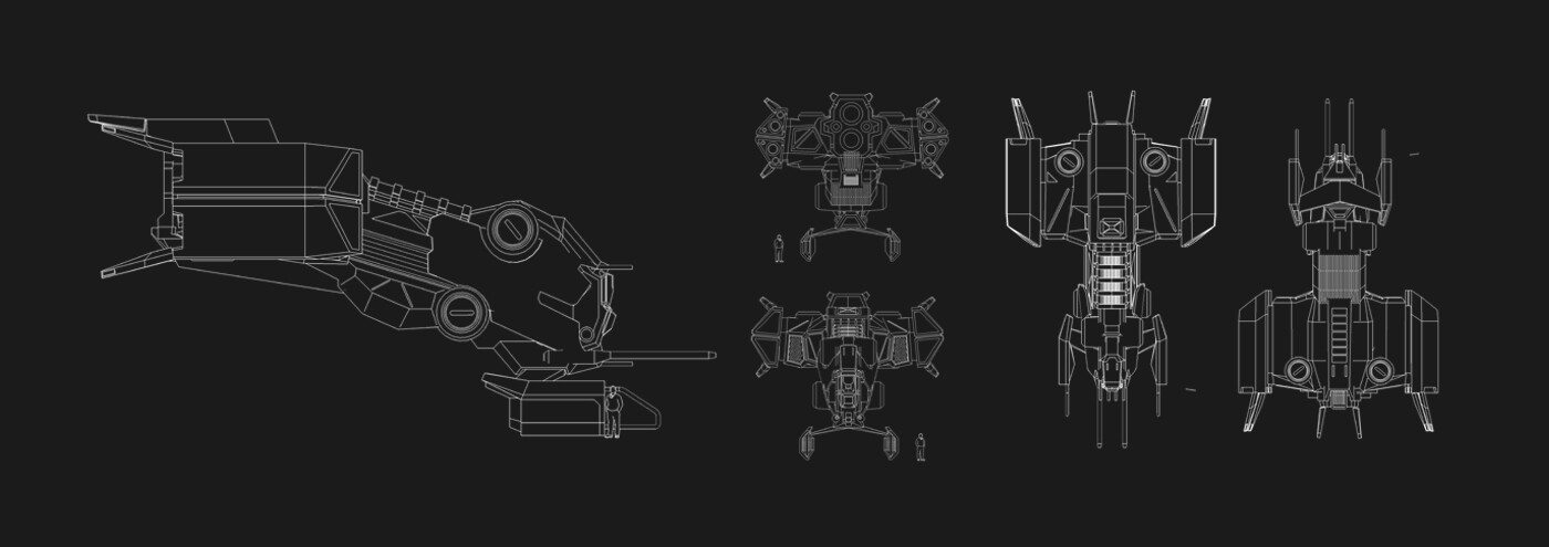 Blueprints as reference for the 3d modeling process.