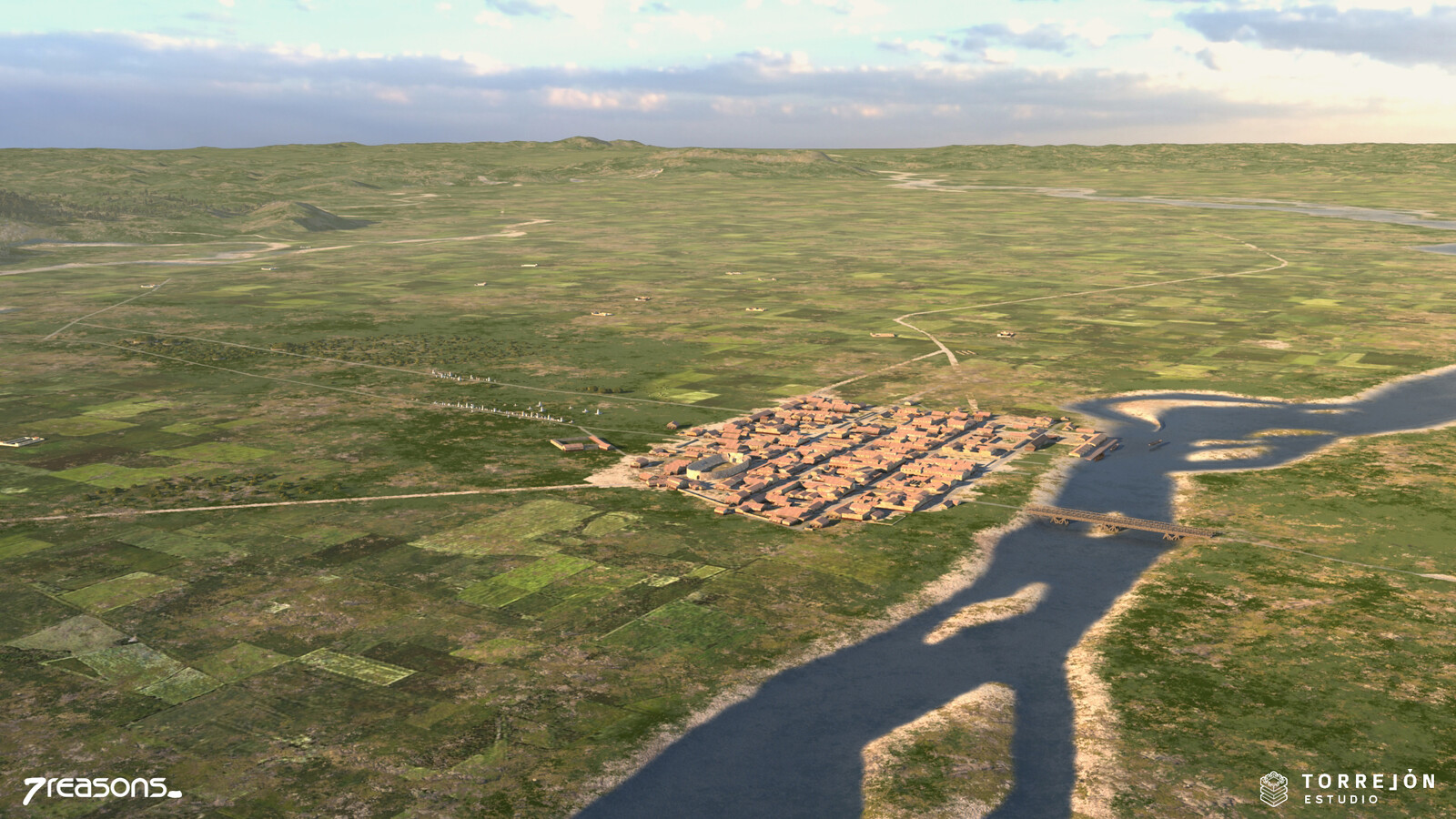 3D visualisation of Flavia Solva and its landscape in Roman times.
