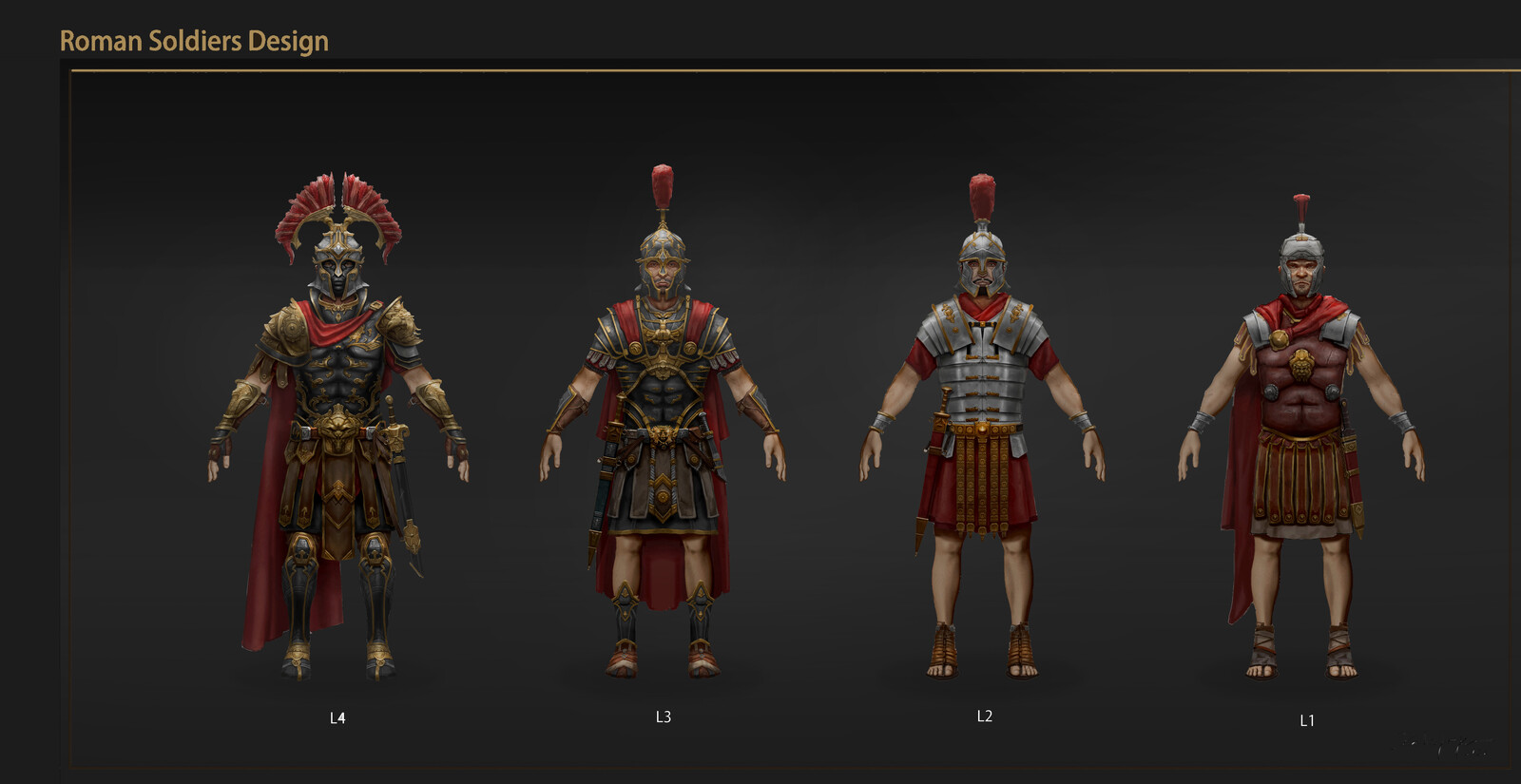 Ancient Rome: Character, weapon designs