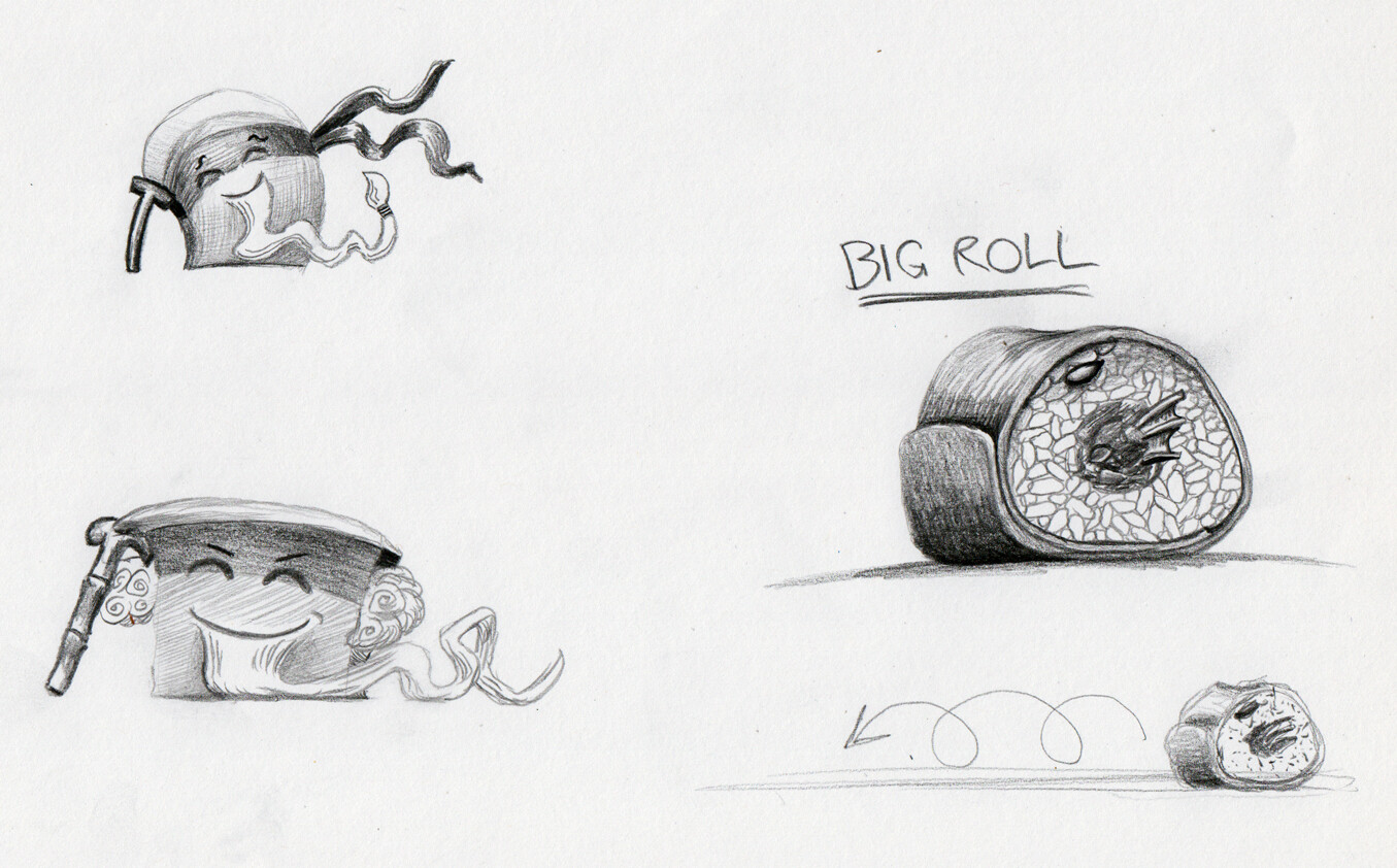 exploring character traits and a sushi roll enemy
