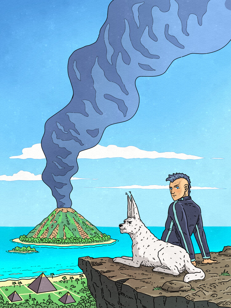 Sci-fi storytelling illustration for book