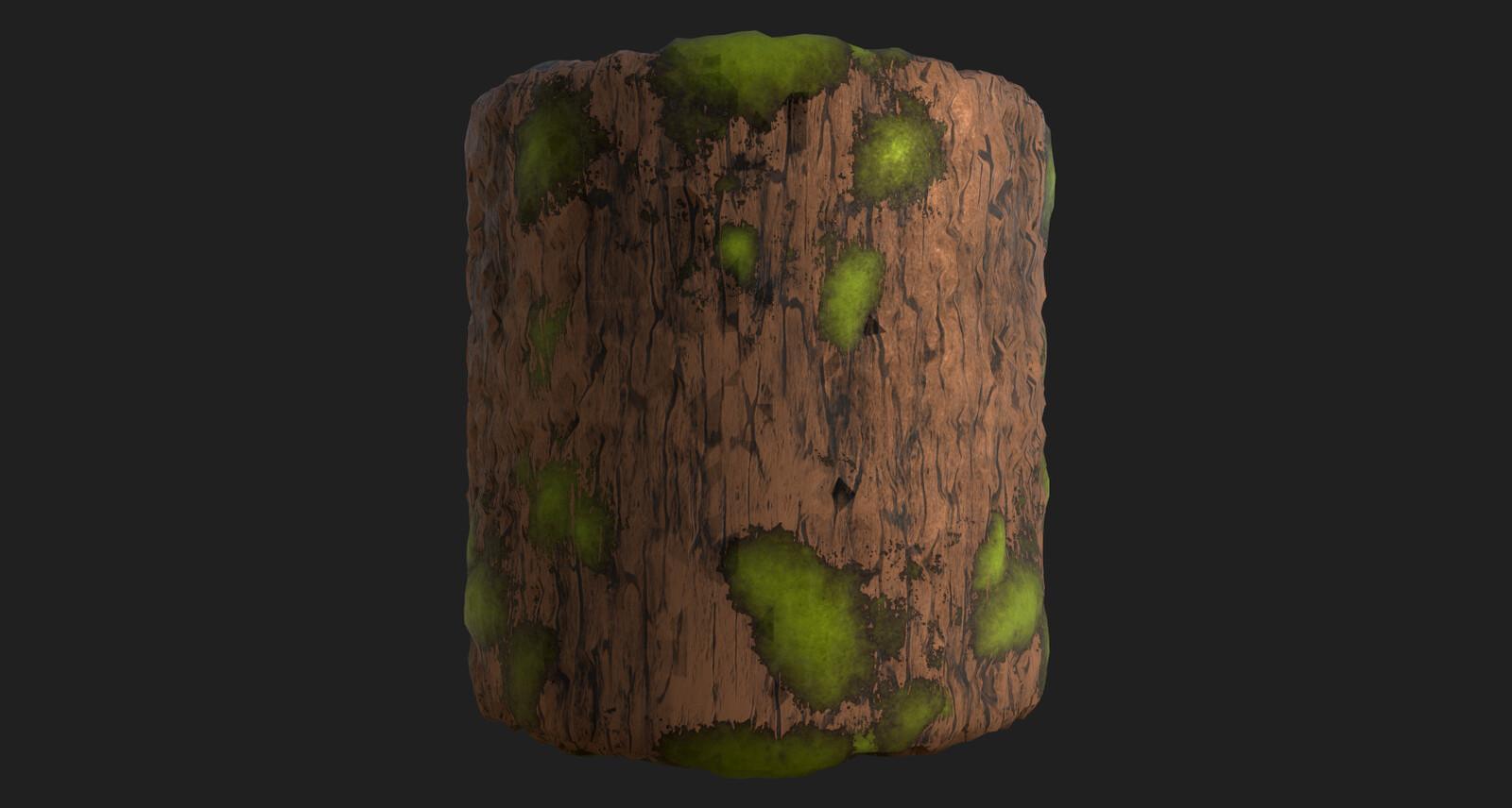 Stylized mossy wood