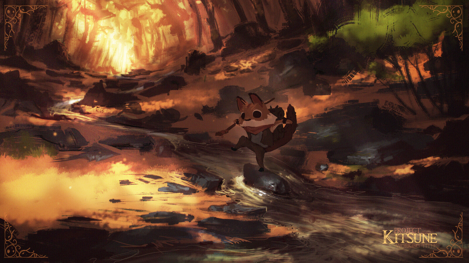 Crossing the stream. Scenic Speedpaint of the young fox leaving his home.