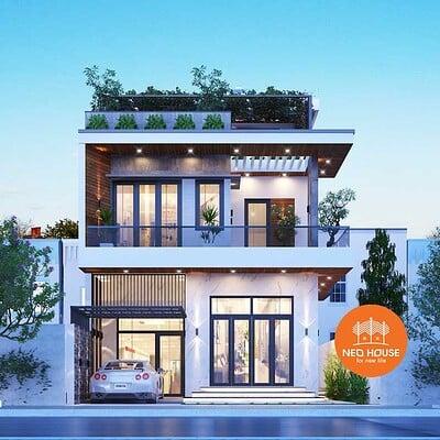 Neohouse architecture biet thu pho 2 tang hien dai mat tien 7m 1
