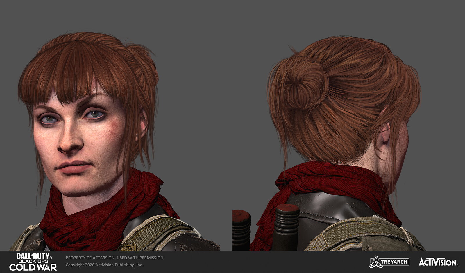 Final concept. I ended up giving her bangs more of a swoop on the model itself at the last minute, just to break up the symmetry :)