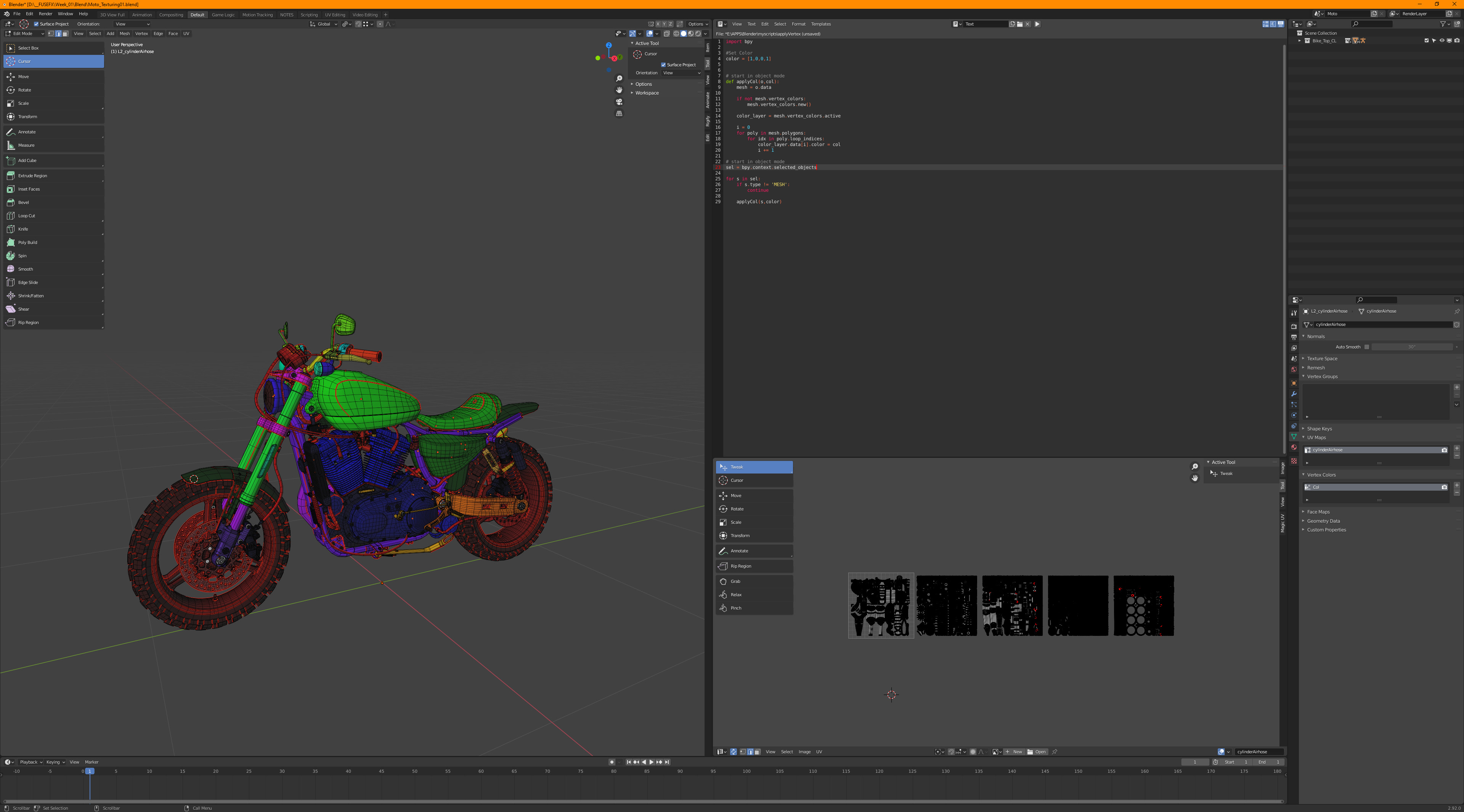 Re-UVing the bike in Blender. I made a script to apply vertex colors to bring into Substance Painter.