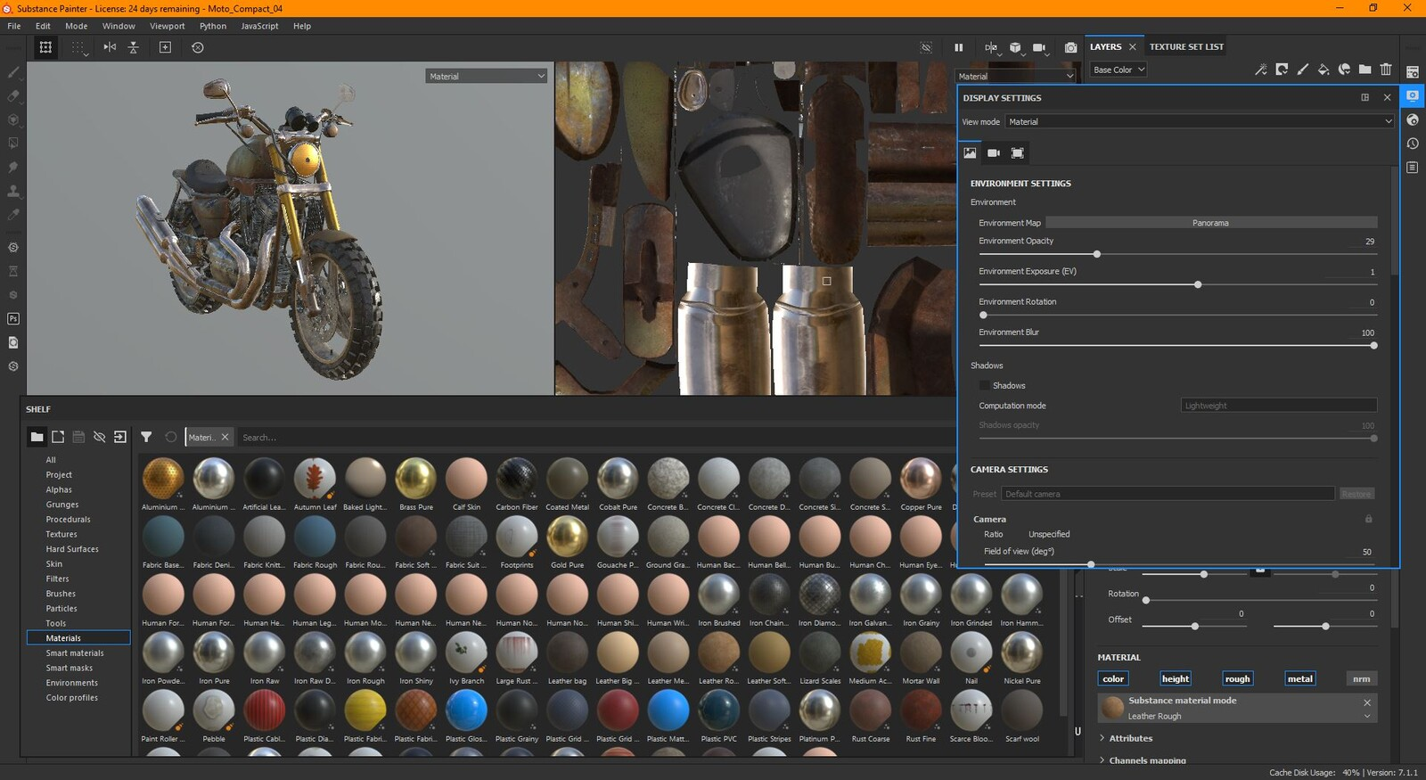 Re-texturing the bike in Substance Painter. PS: I still haven't come to grips with the not-that-new way of managing UDIMs. I always use the legacy texture sets.