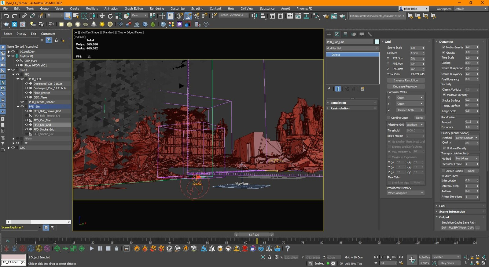 Phoenix in Max before I sent the .aur cache over to Maya.