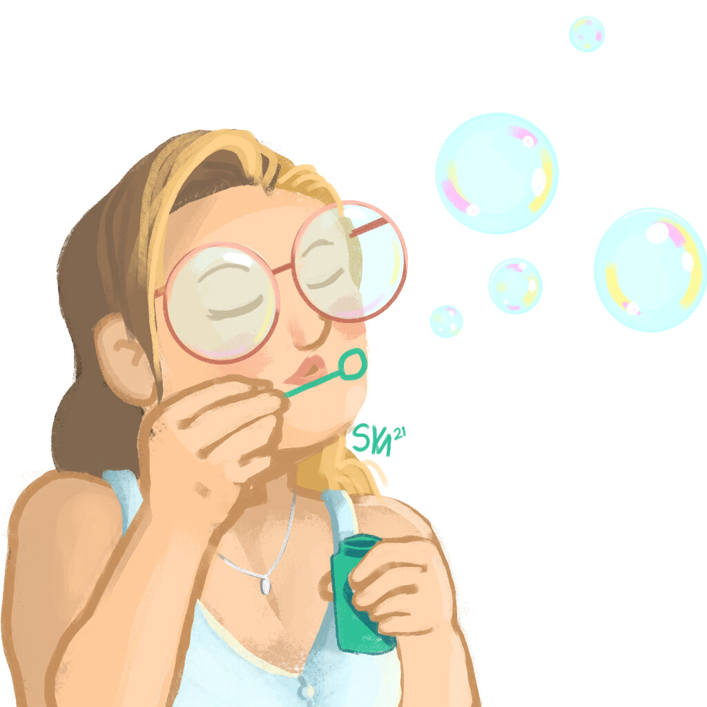 Doodle by Donation, A friend blowing bubbles