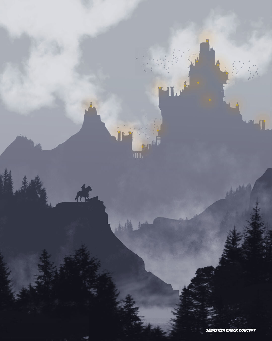 In the heart of the Anfarwol region stands a huge city. The dense forest that surrounds it changes the topology of the land every season and therefore makes it very difficult to access, it would take weeks to reach it.