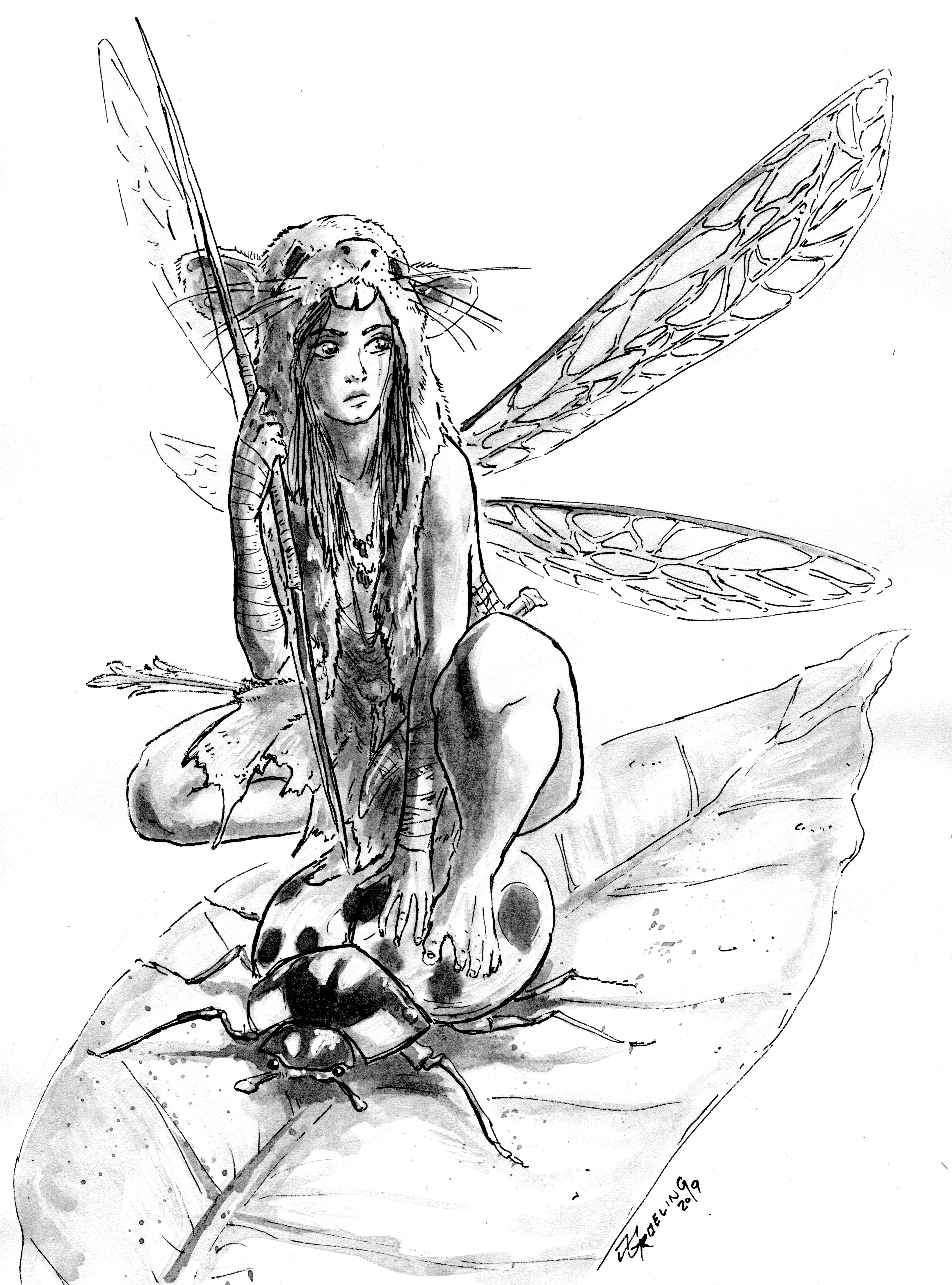 ink drawing scanned for coloring
