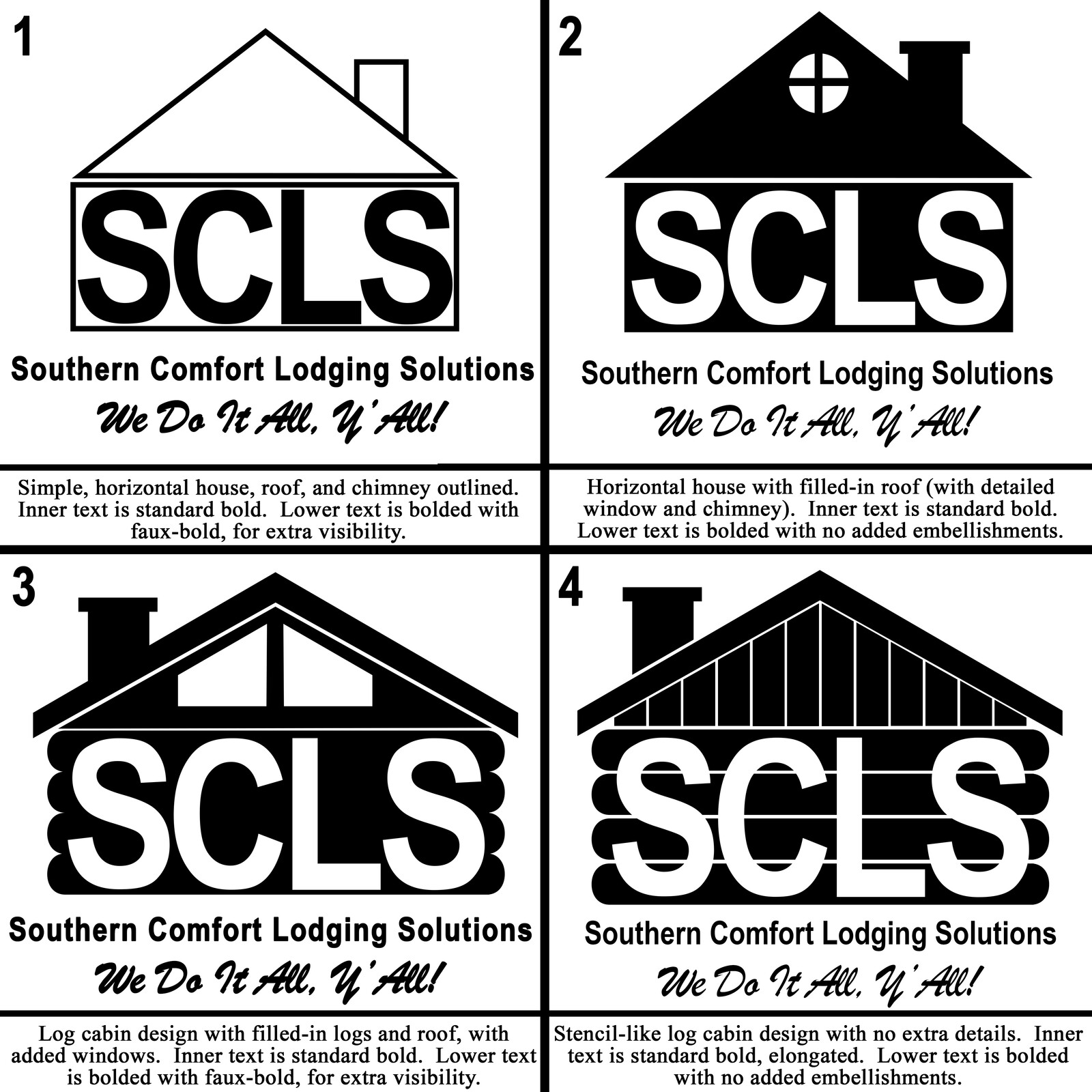 The first 4 concept designs for the SCLS logo
