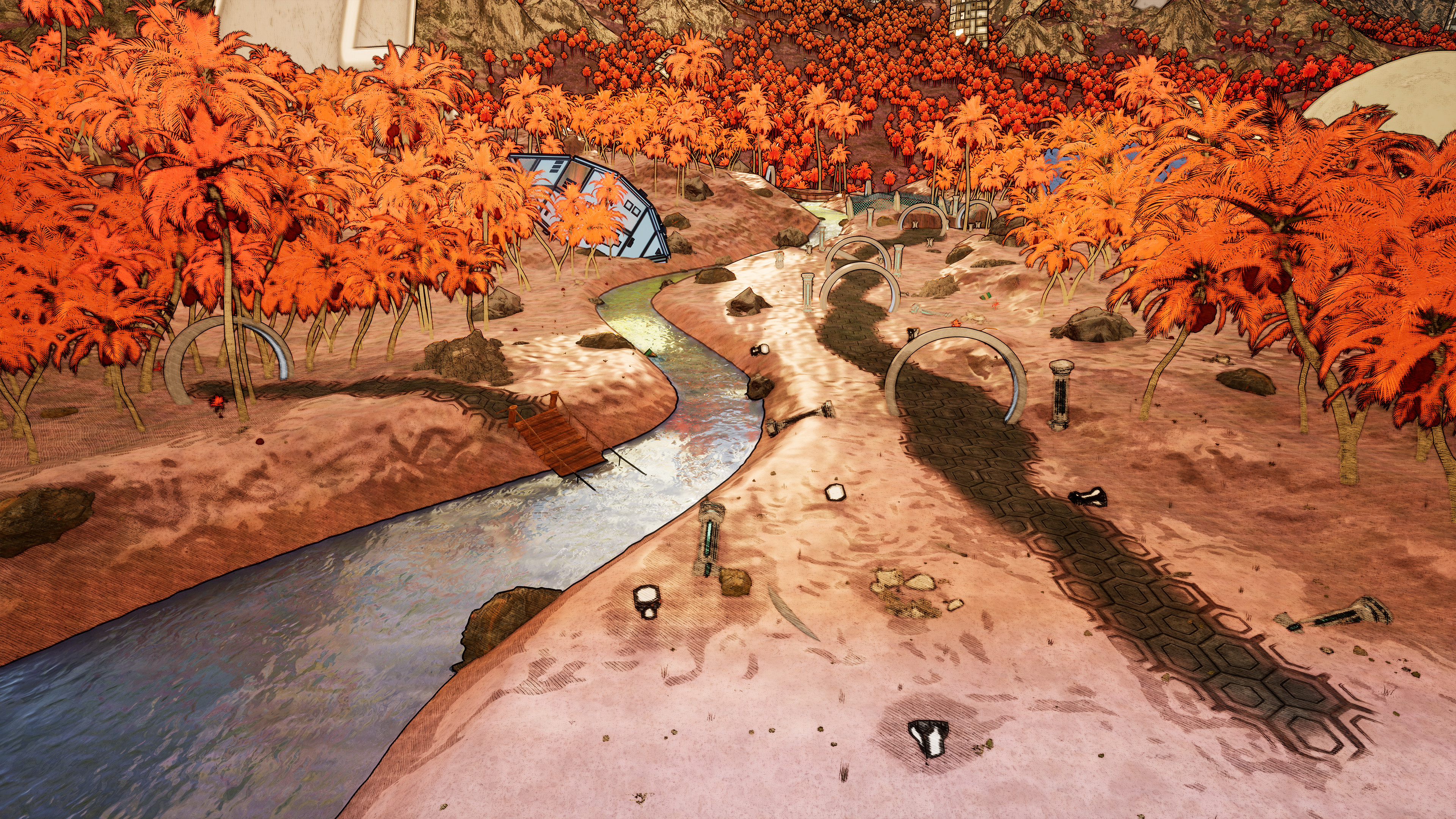 The river and path the player takes as they go down to the beach