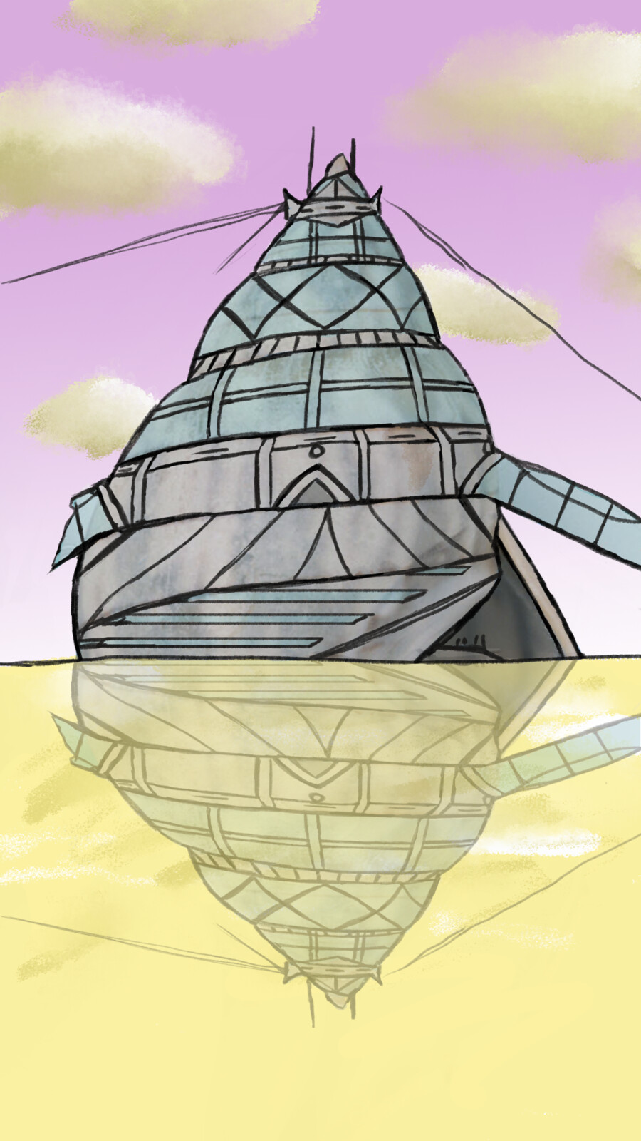 A sketch of my shell shaped hero building towering out of the water.