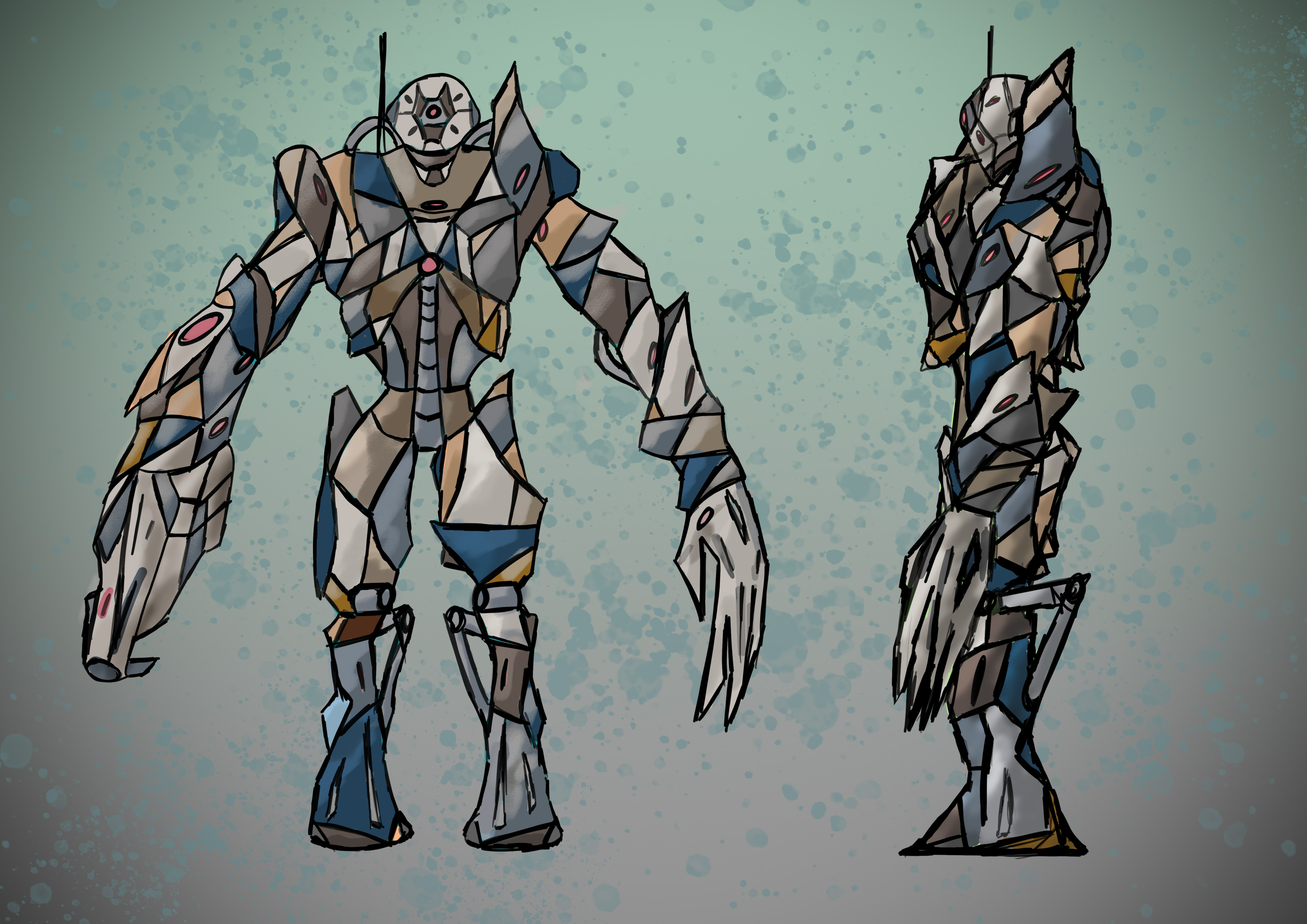 A design drawing for my large robotic character.