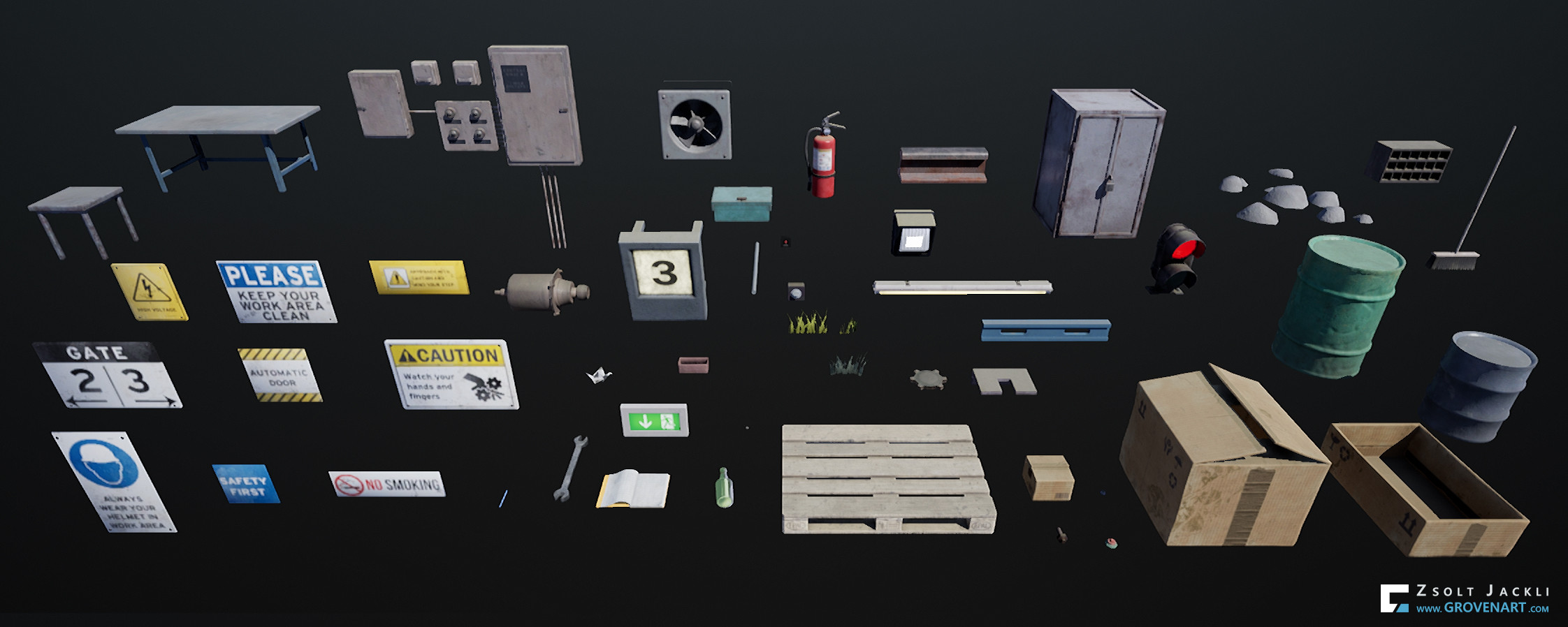 Assets used to populate the scene