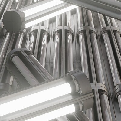 Dennis haupt 3dhaupt neon fluorescent lamp modelled and textured by 3dhaupt in blender 2 92 2