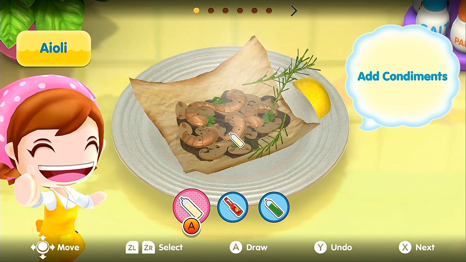 I setup this final plating for the Mushrooms en Papillote dish. Some assets were already created for other dishes/minigames like the shrimp and rosemary, some assets were original like the sauce puddle and crinkled paper wrapping.