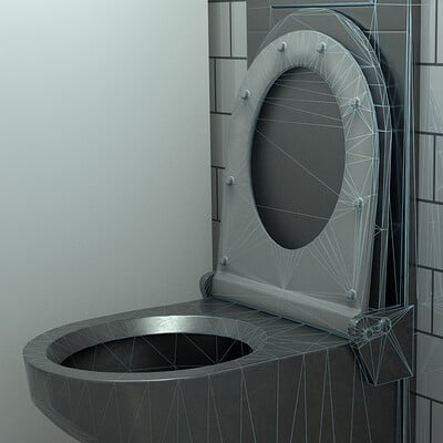 Dennis haupt 3dhaupt stainless steel toilet low poly modelled textured and animated by 3dhaupt in blender 2 92