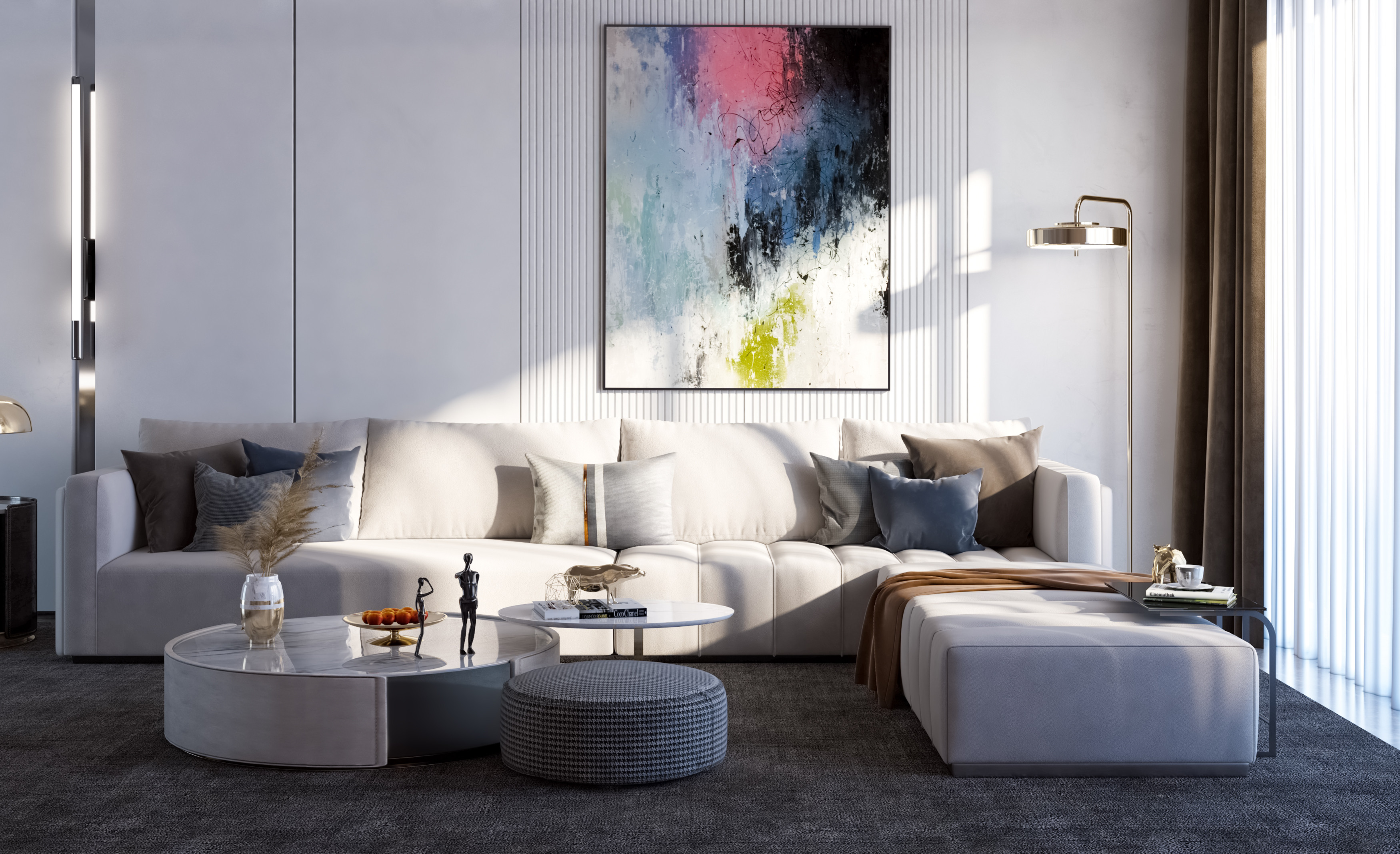 Modern Living Room  3ds Max V-Ray Photoshop Asset: 3dBrute Materials and Lighting Rendering Lente Scura 5SRW - Learning V-Ray Method