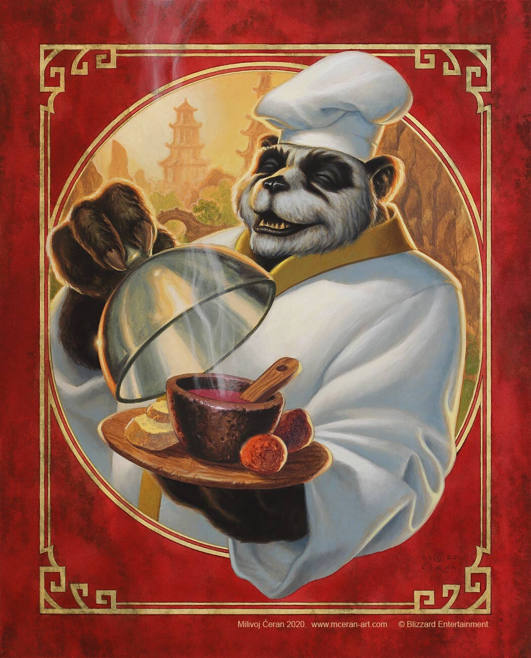 """""""Nomi Chef"""", Milivoj Ćeran 2020. - acrylic and airbrush on paper - 40 x 32 cm (15,7 x 12,6 inches) - full page illustration (intro page) for the book """"World of Warcraft Cookbook: New Flavors of Azeroth"""", Insight Editions - © Blizzard Entertainment - Art D"""