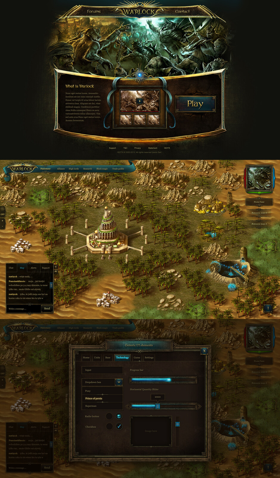 game GUI - game interface - hand painted game GUI interface created in Photoshop