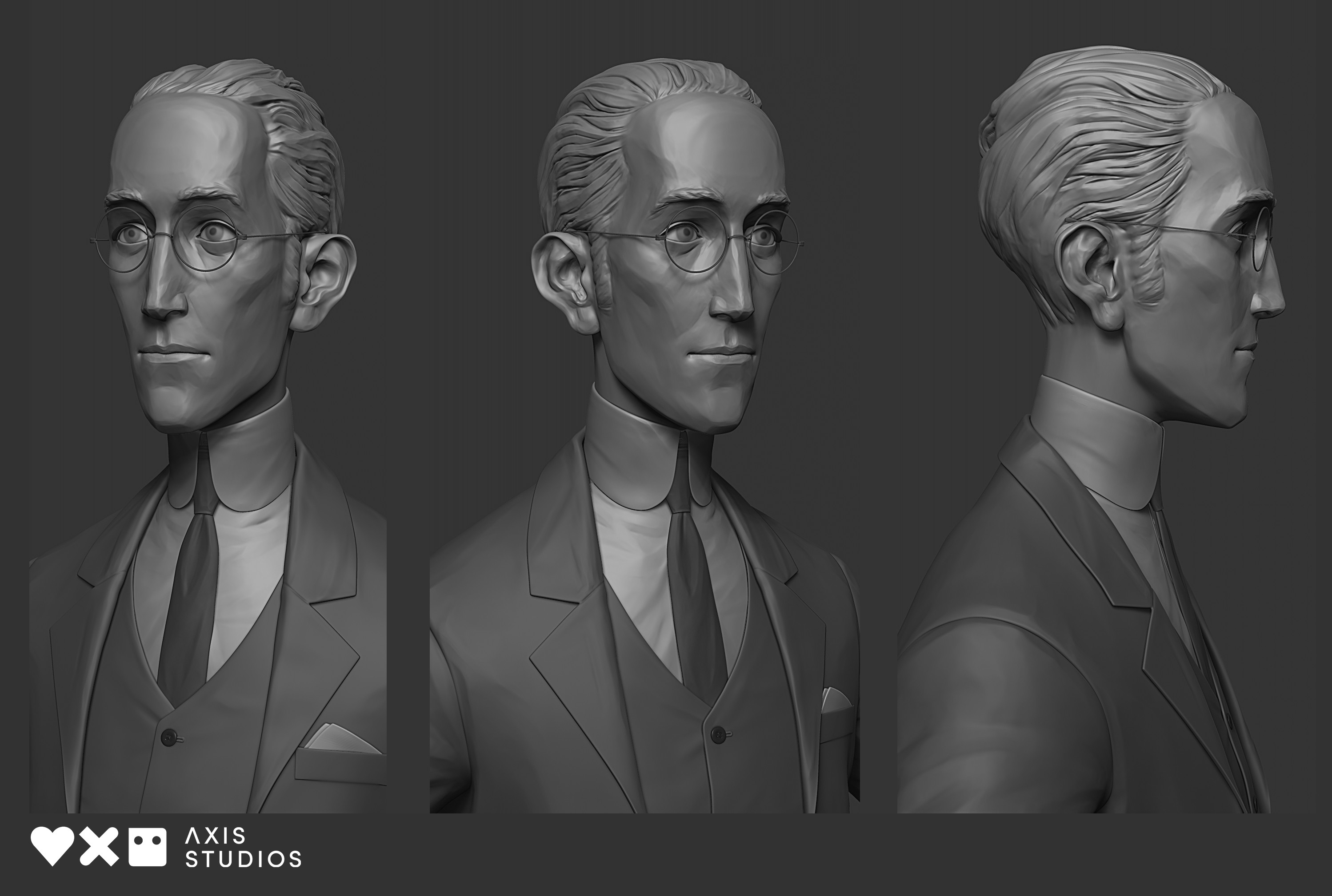 Final Zbrush model. The head was a collaboration with the incredible James W Cain who created a series of amazing concept sculpts for the character. The suit and body is solely my work.