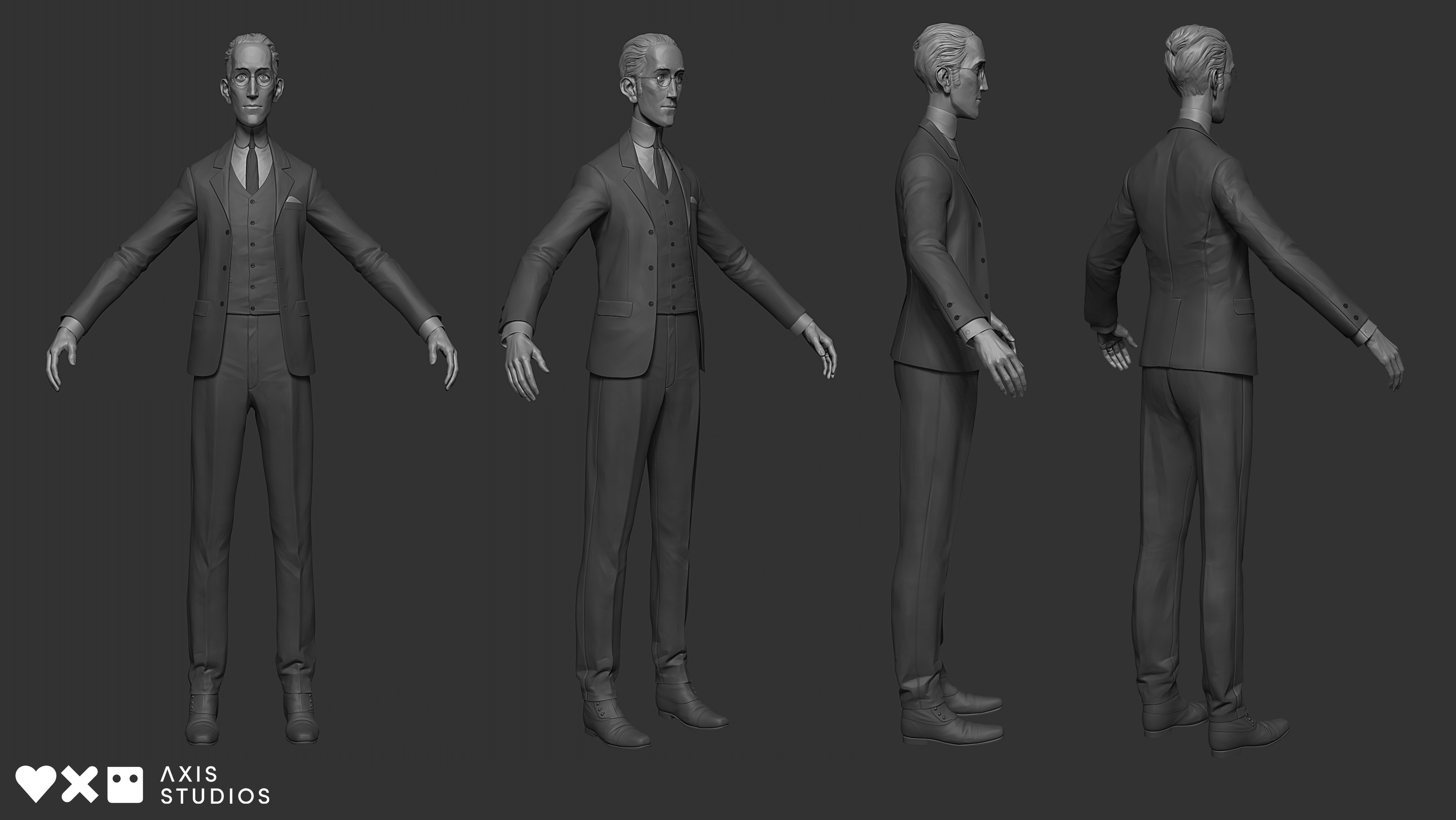 Final full body model. The head was a collaboration between James W Cain and myself, and I created the body/suit model and the final production asset.