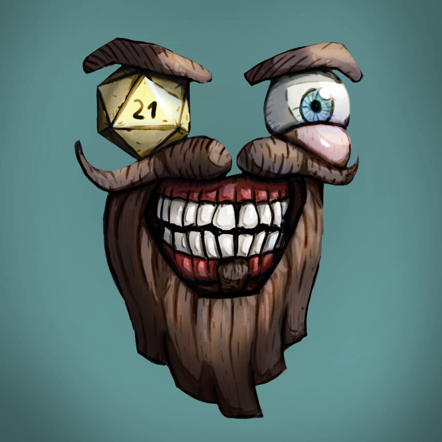 Finished social media character and Twitter profile image for HDF Games.