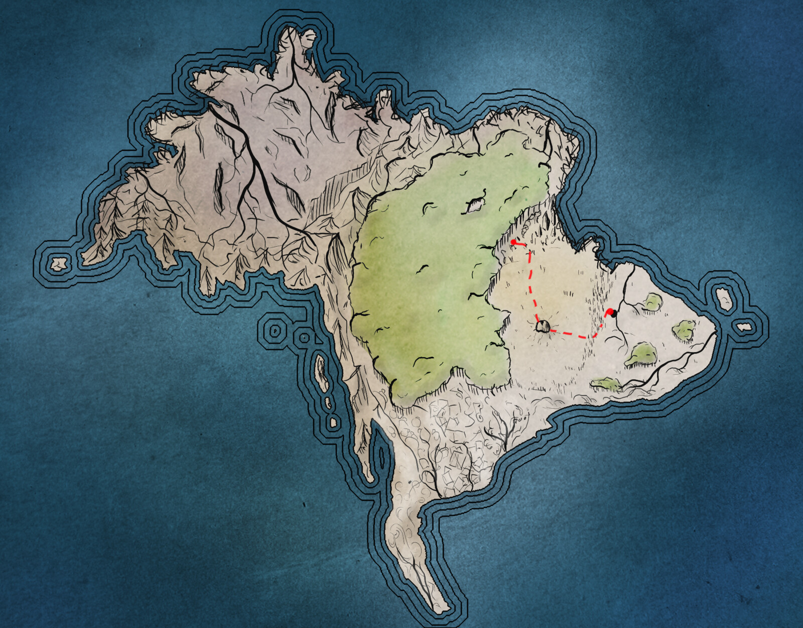 The continent of Aondal with hand drawn details.