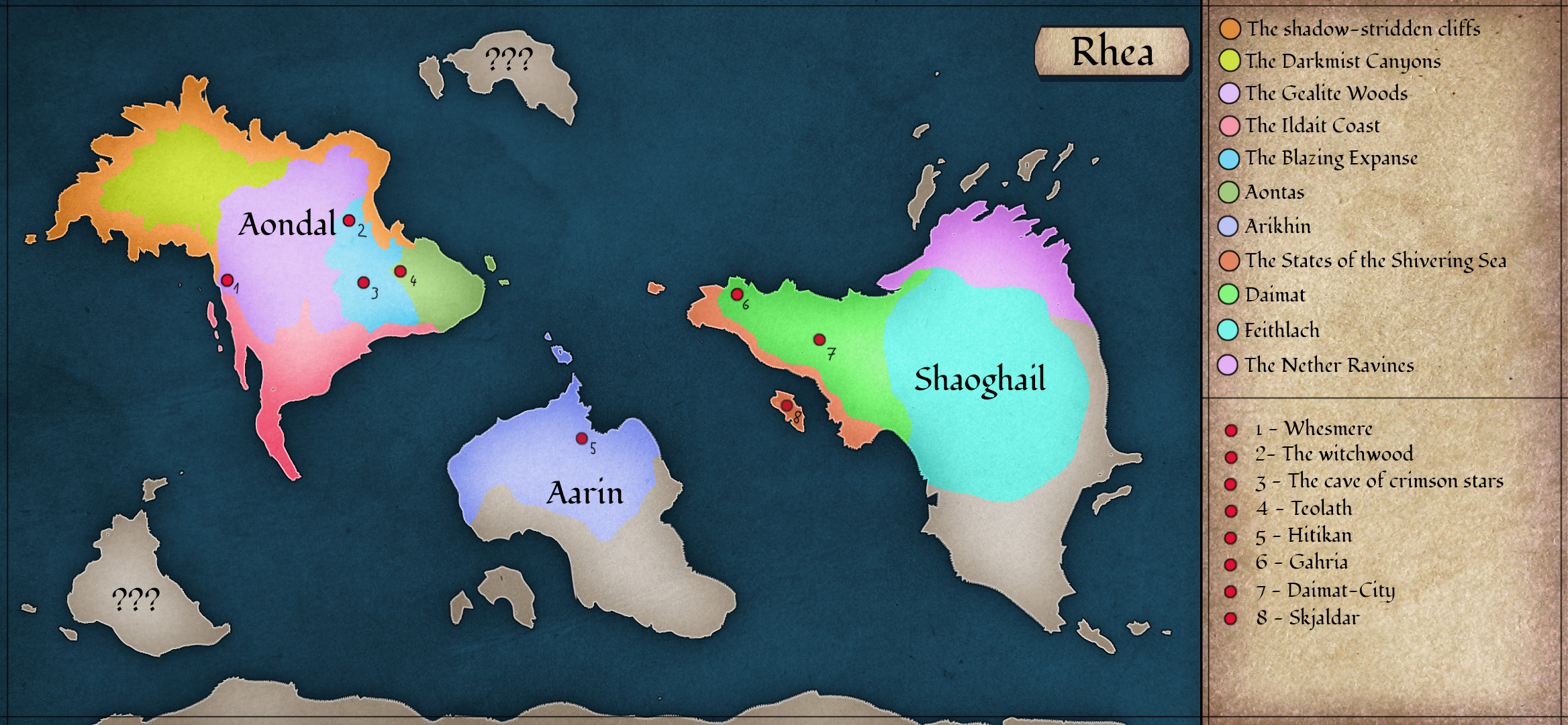 Labeled map of the fictional world of Rhea.